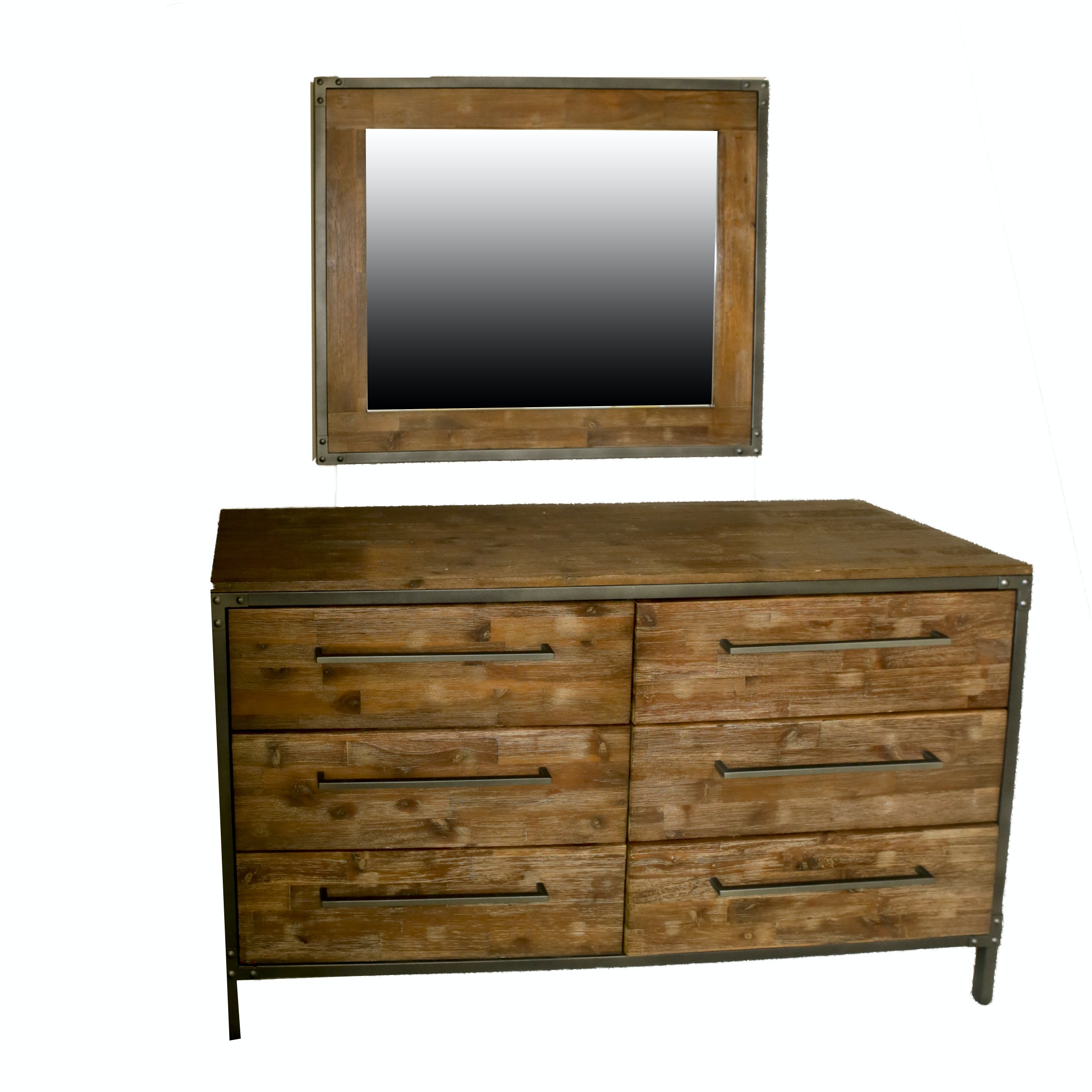 Contemporary Rustic Style Chest of Drawers with Wall Mount Mirror