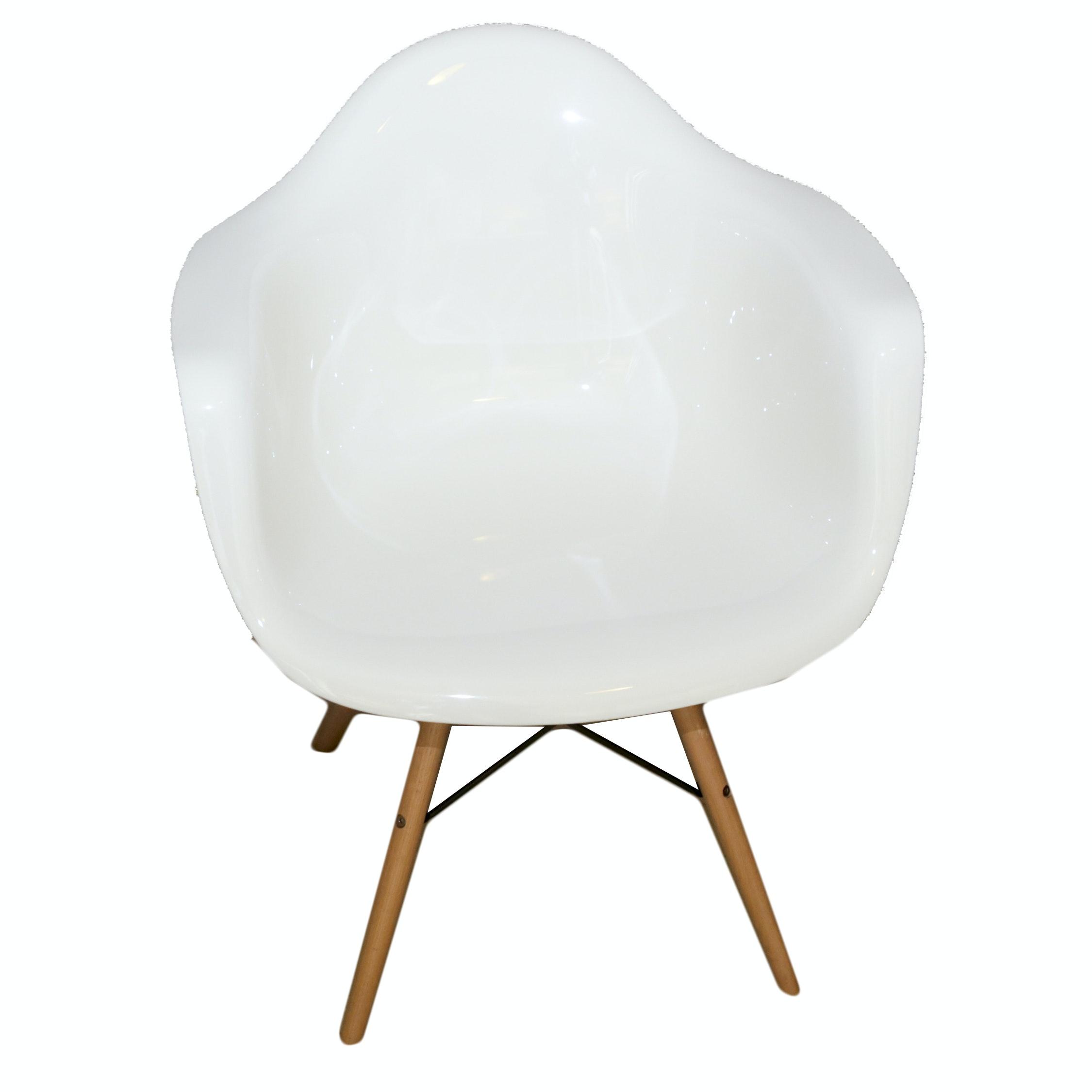White Molded Plastic Armchair