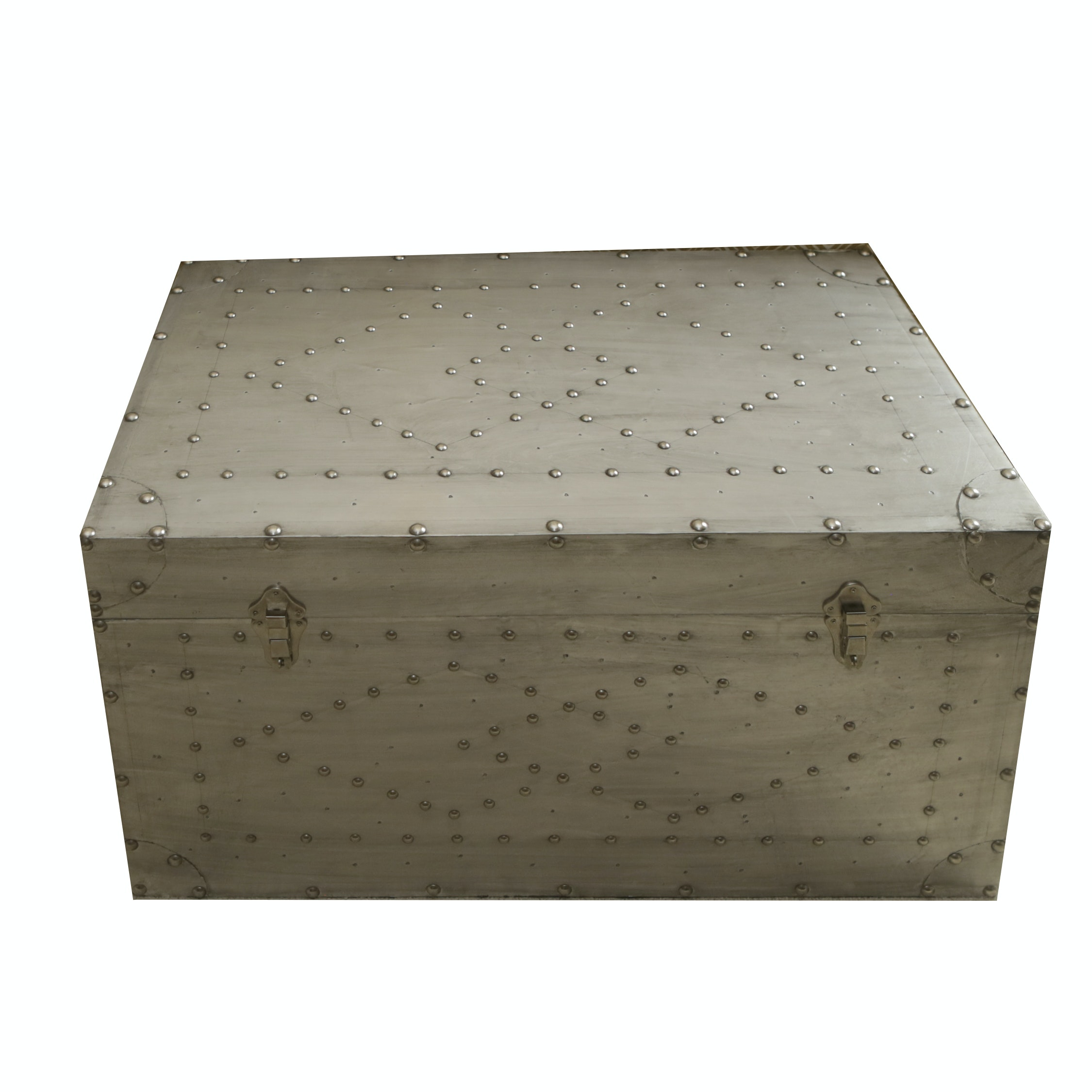 Silver Painted Trunk with Diamond Rivet Accents