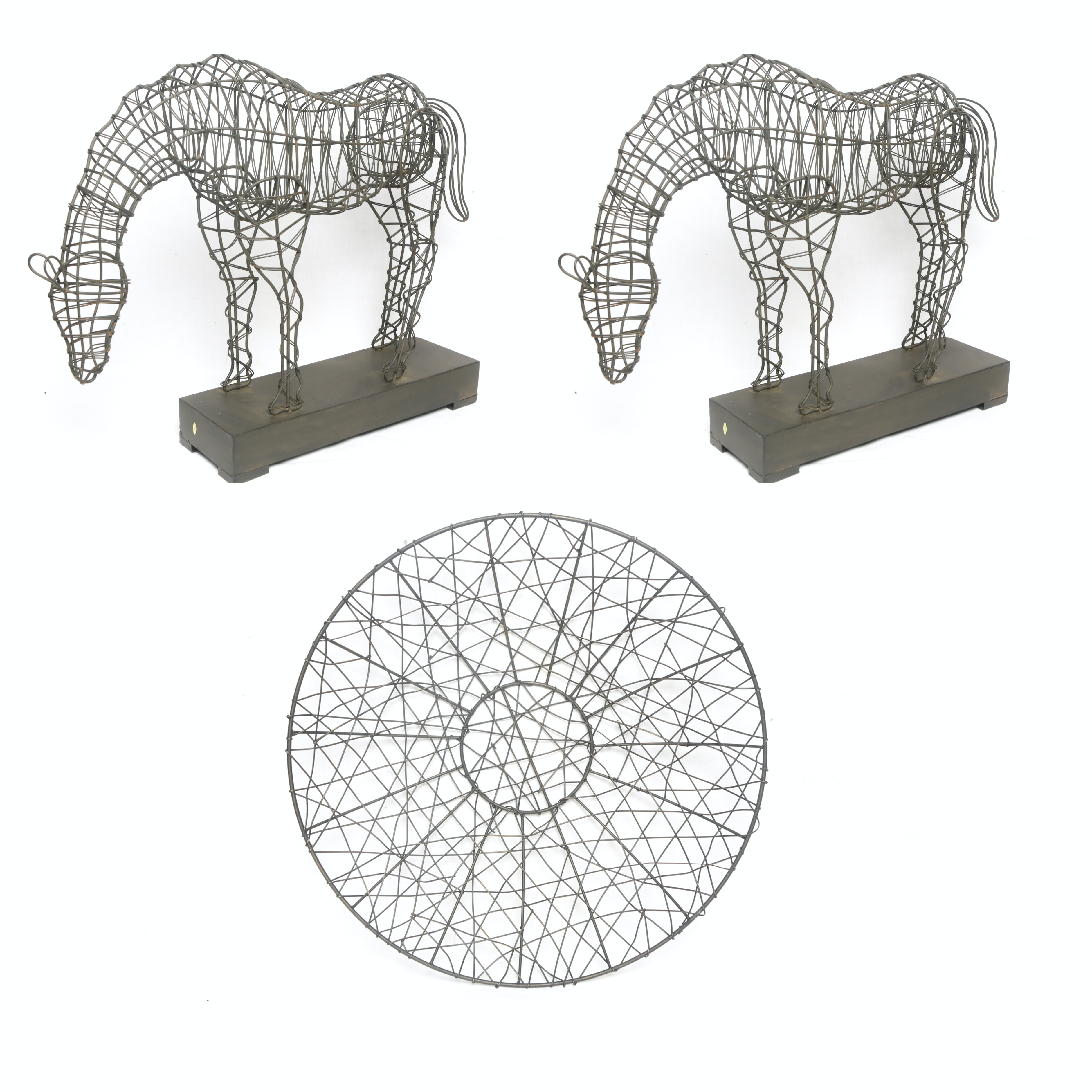 Woven Wire Horse Statuaries and Round Wall Decor