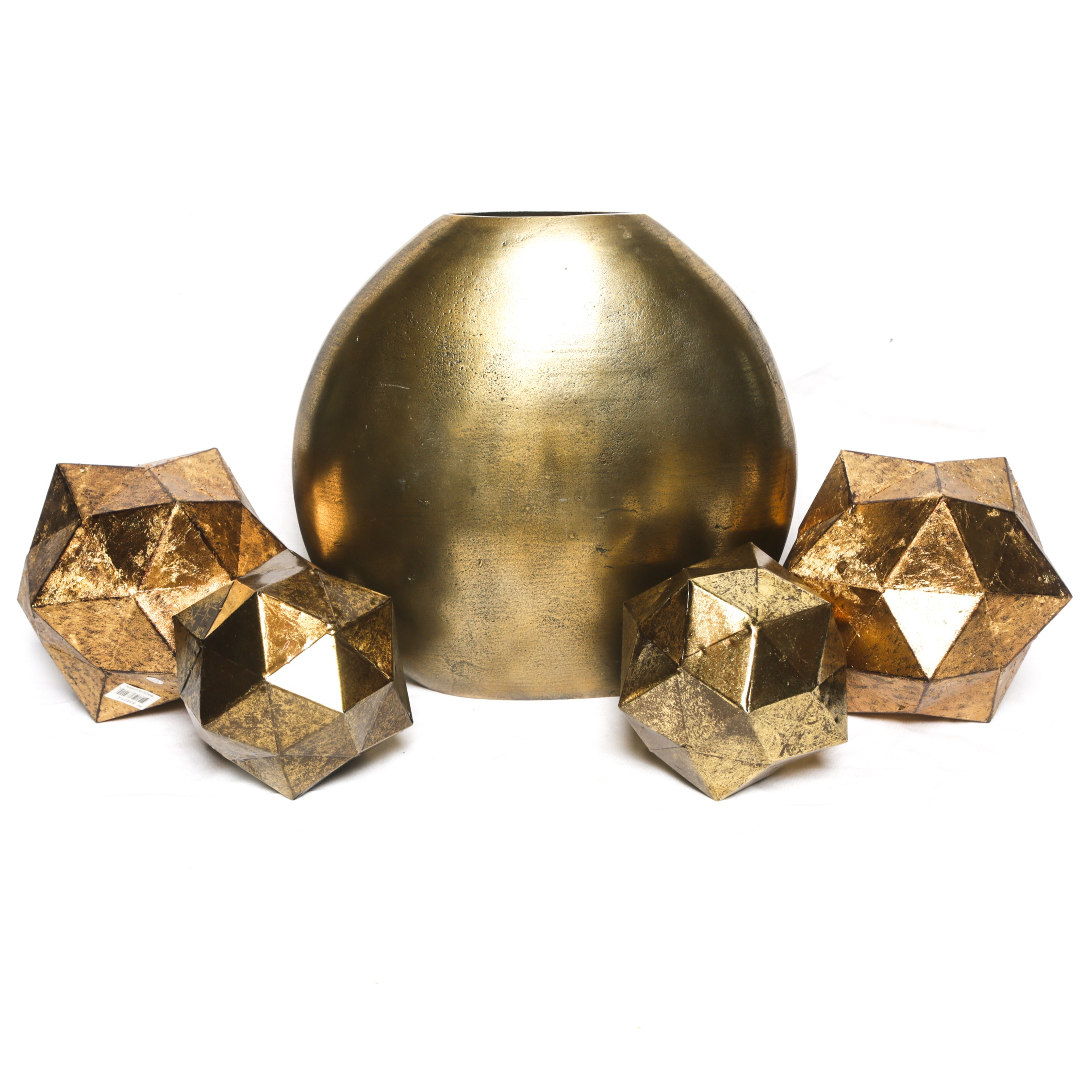 Indian Gold Tone Ovoid Vase and Faceted Orbs with Metallic Finish