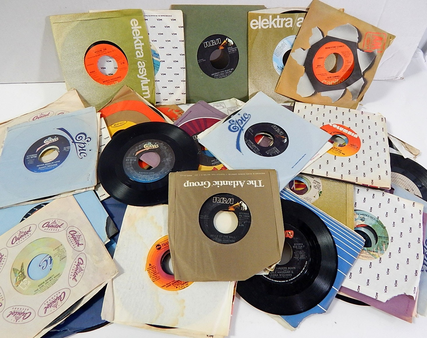 Over 50 Juke Box 45 RPM Records from 1970s and 1980s