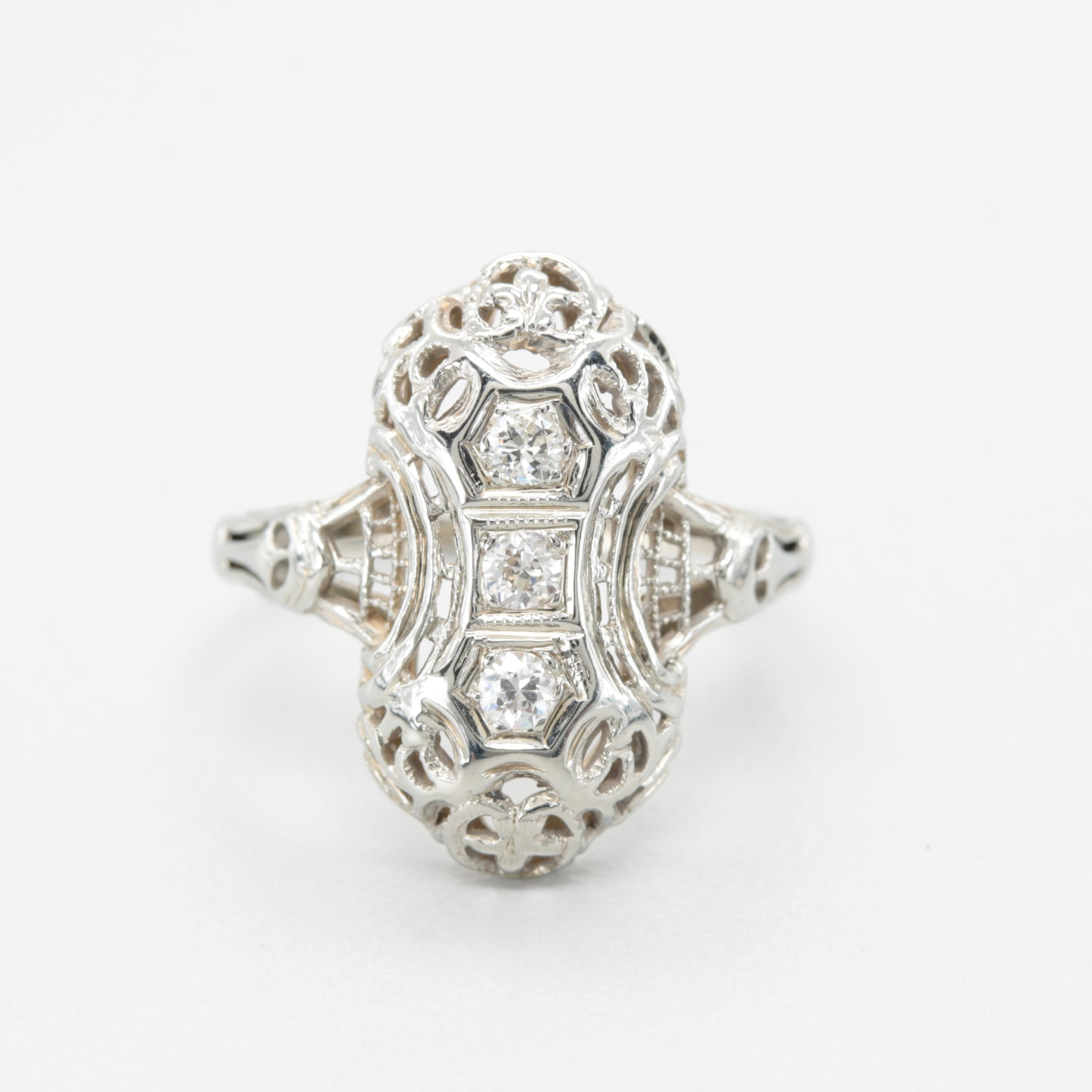Edwardian 18K White Gold Diamond Dinner Ring