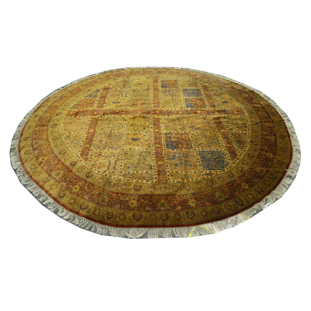 Hand-Knotted Indian Bakhtiari Style Wool Round Area Rug