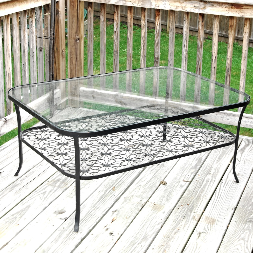 Glass Top Metal Patio Dining Table