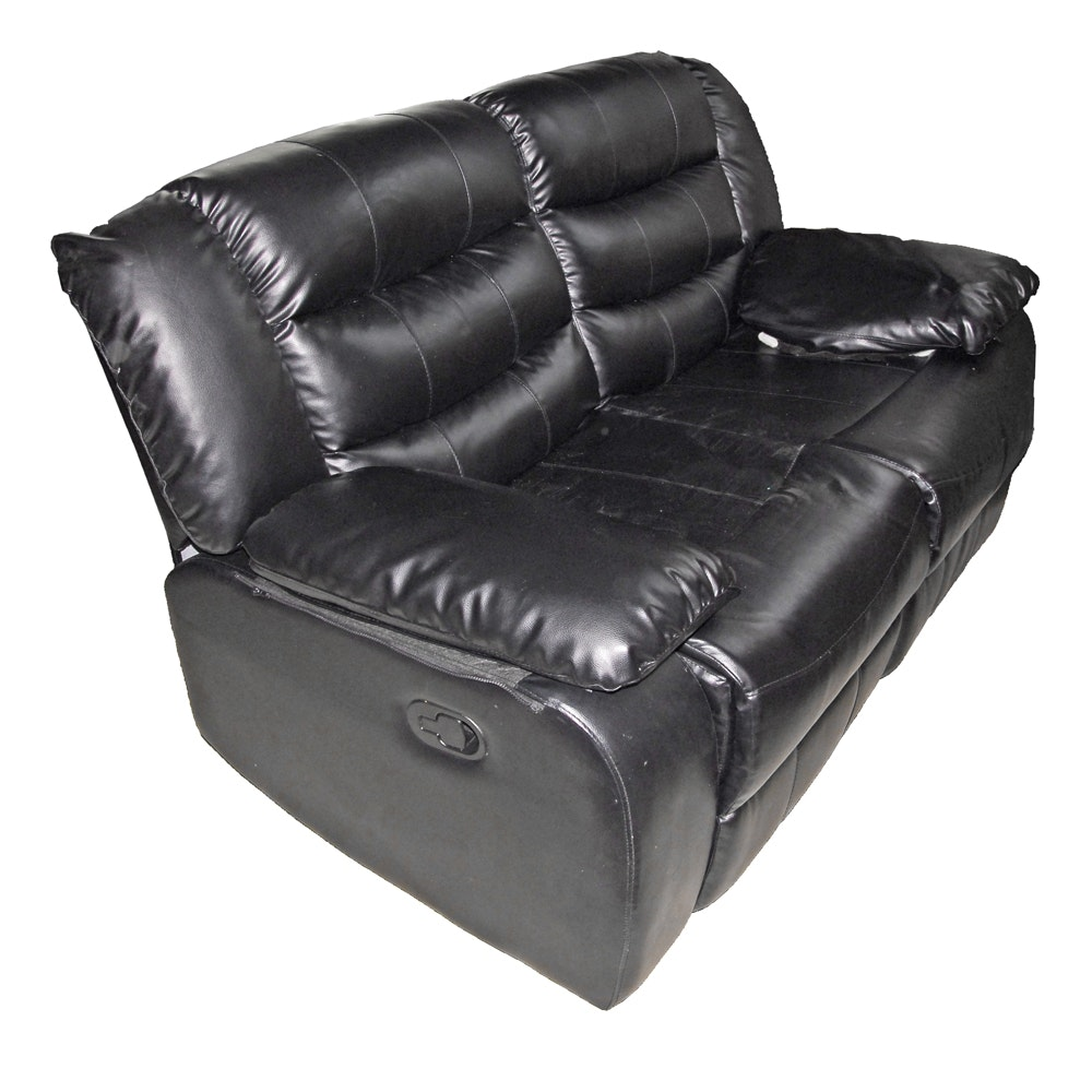 Black Faux Leather Reclining Loveseat