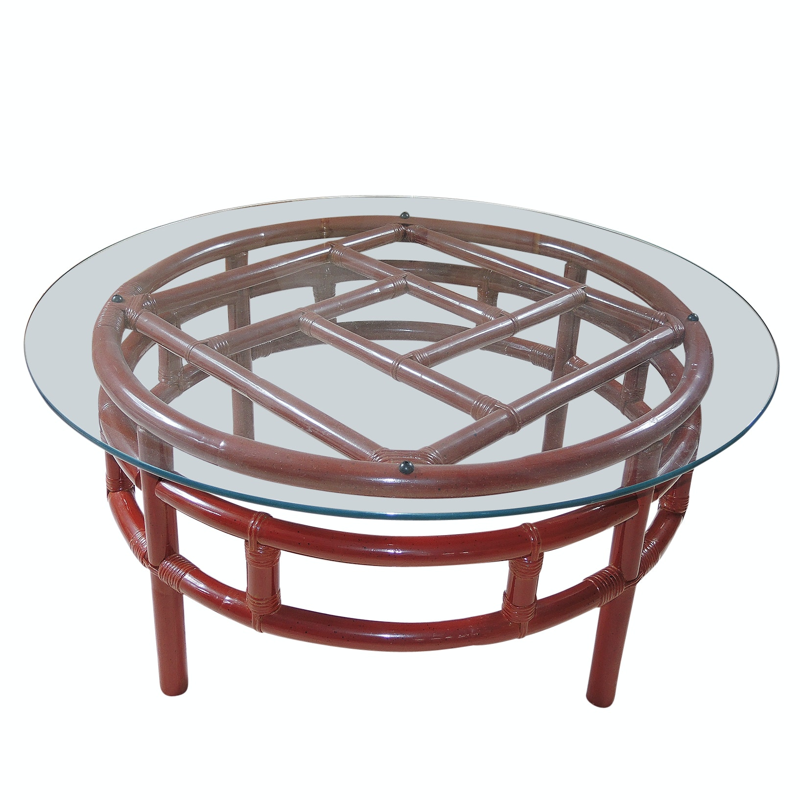Red Ficks Reed Bamboo and Glass Round Coffee Table
