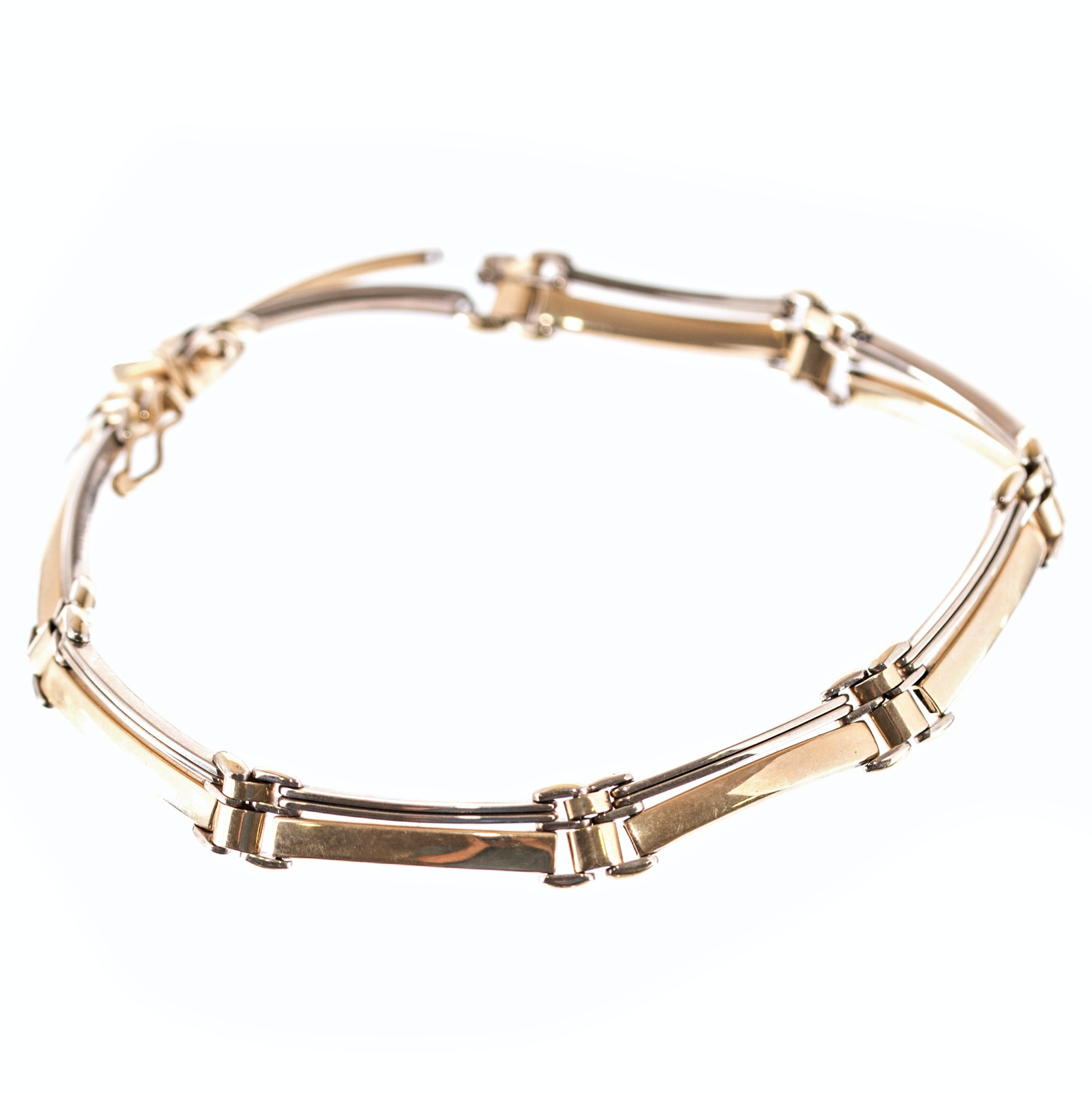 14K Yellow and White Gold Eight-Bar Link Bracelet