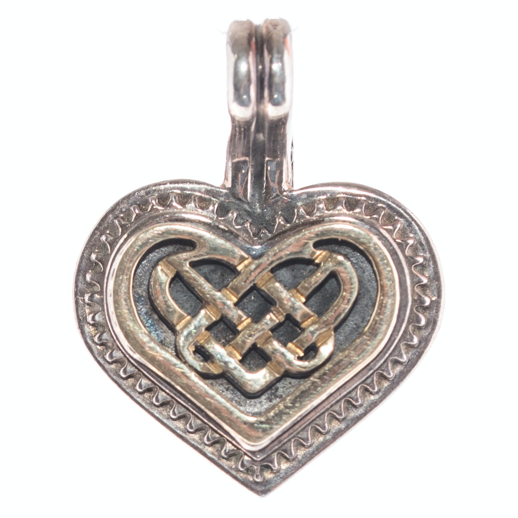 "18K Yellow Gold and Sterling Silver ""Criss Cross"" Heart Pendant"