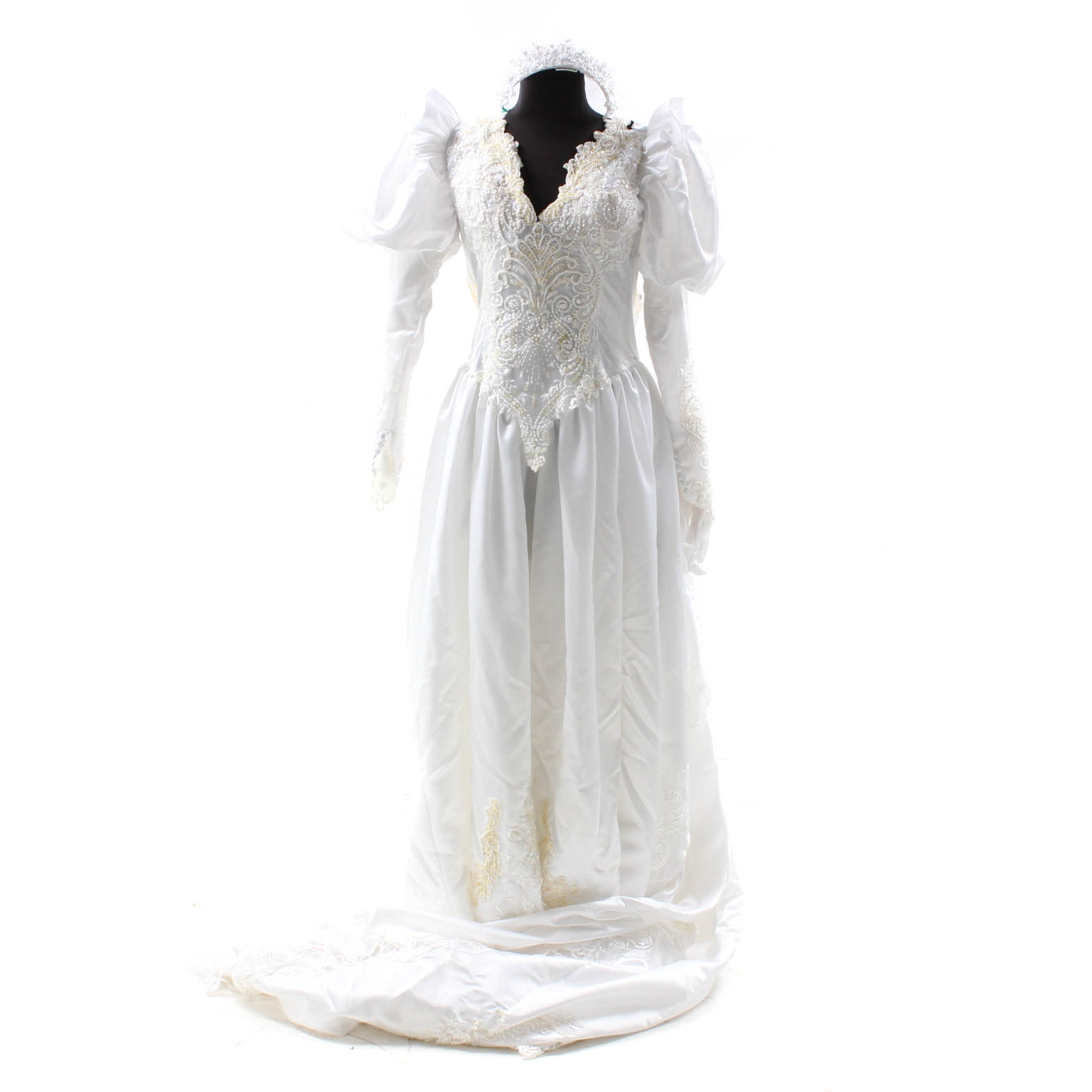 Vintage Beaded Wedding Gown with Veil