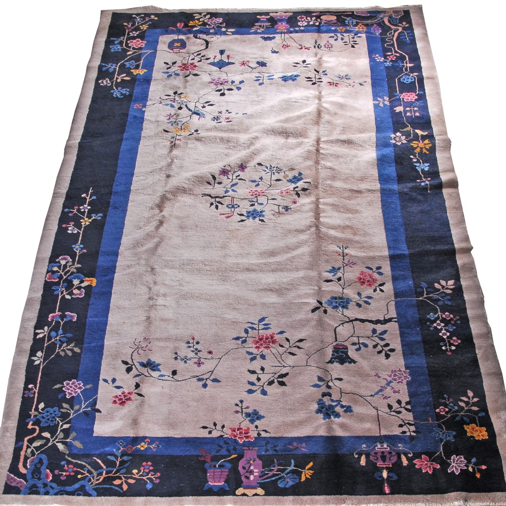 Vintage Hand-Knotted Chinese Art Deco Style Wool Area Rug
