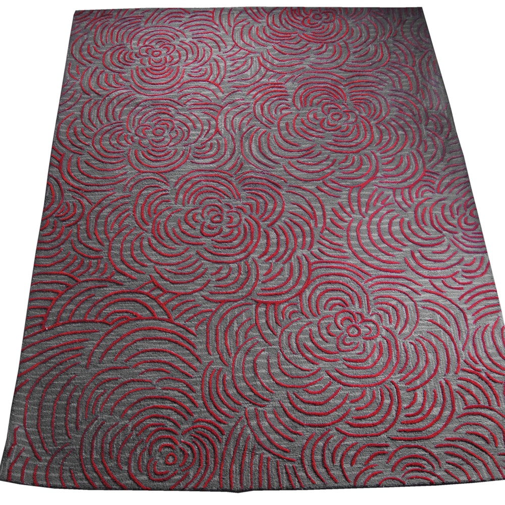 "Hand-Tufted Indian ""Leia"" Wool Textured Area Rug by Chandra Modern Rugs"