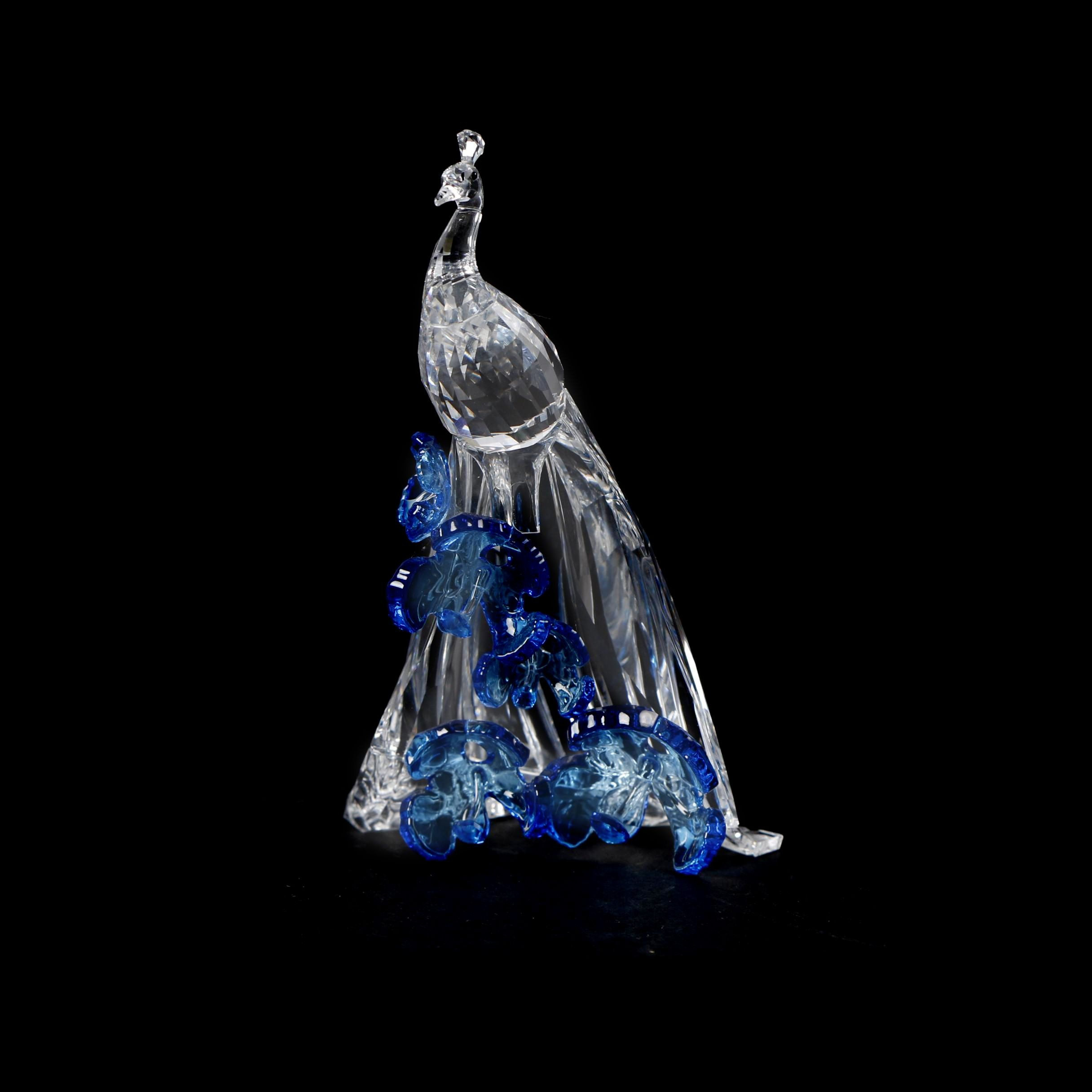 "Swarovski Crystal Society ""White Peacock"" Figurine with Blue Flowers"
