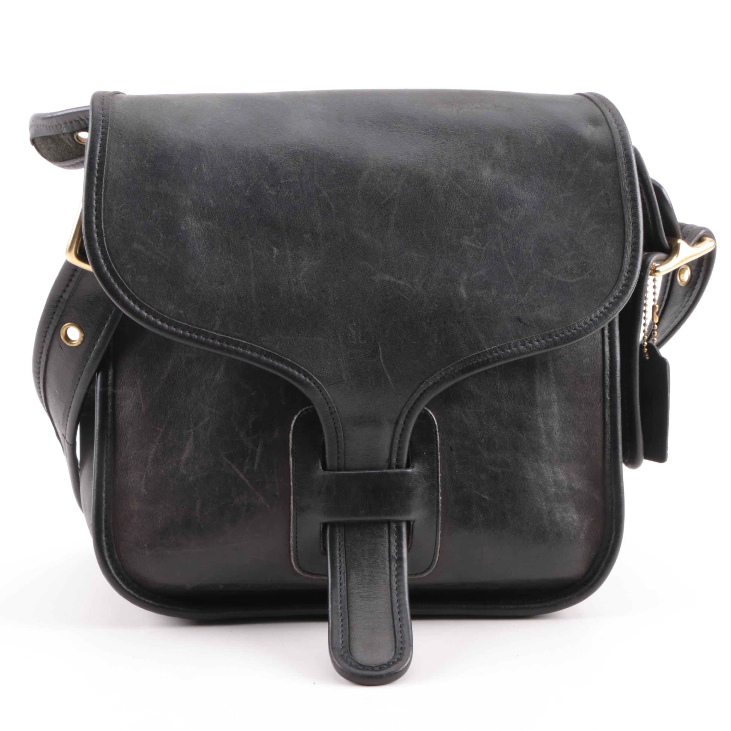 Circa 1970s Coach Rodarte Courier Black Leather Bag