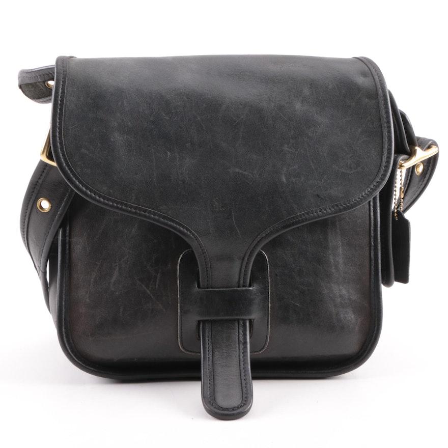 5d321073be86e9 Circa 1970s Coach Rodarte Courier Black Leather Bag | EBTH
