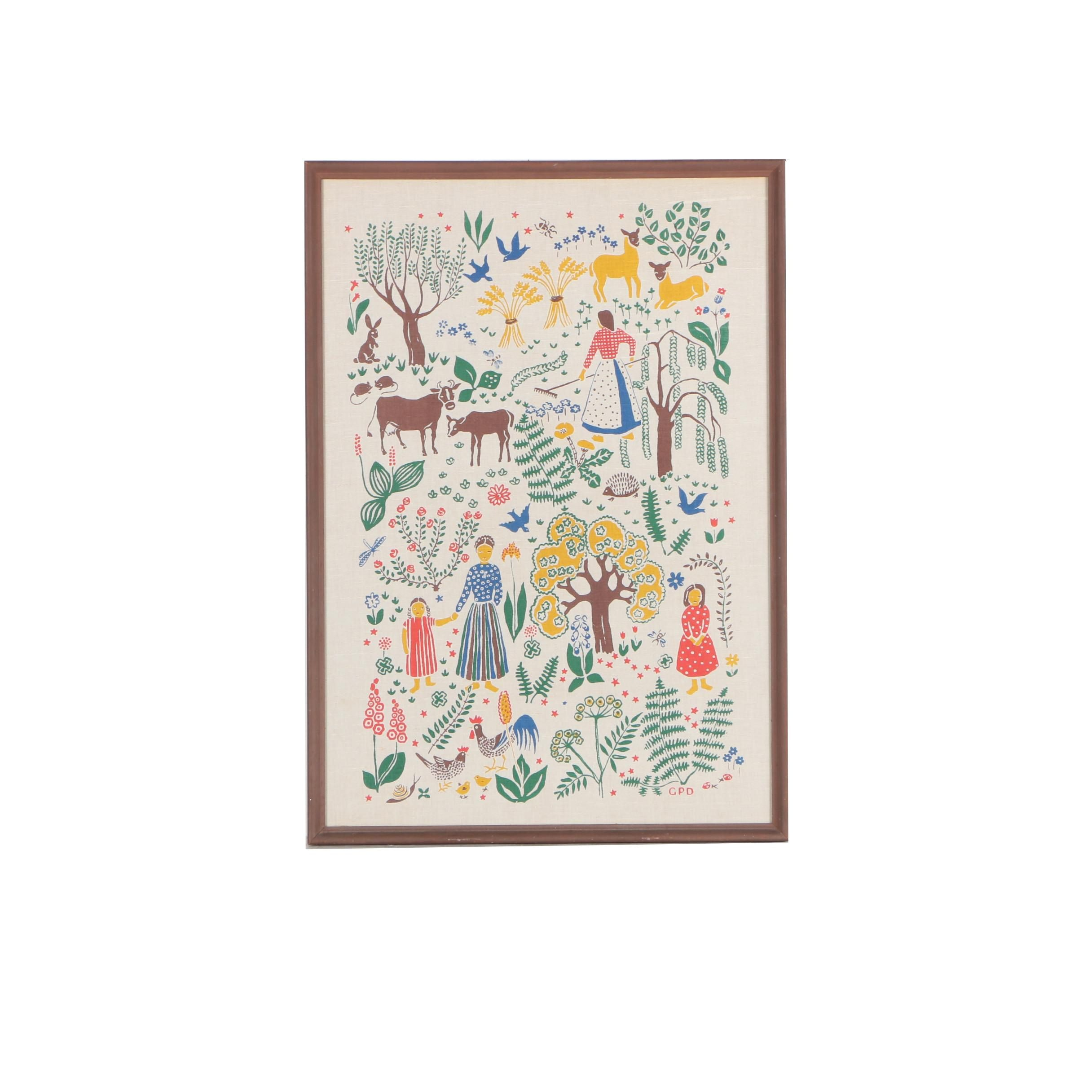 Framed Folk Art Style Tea Towel