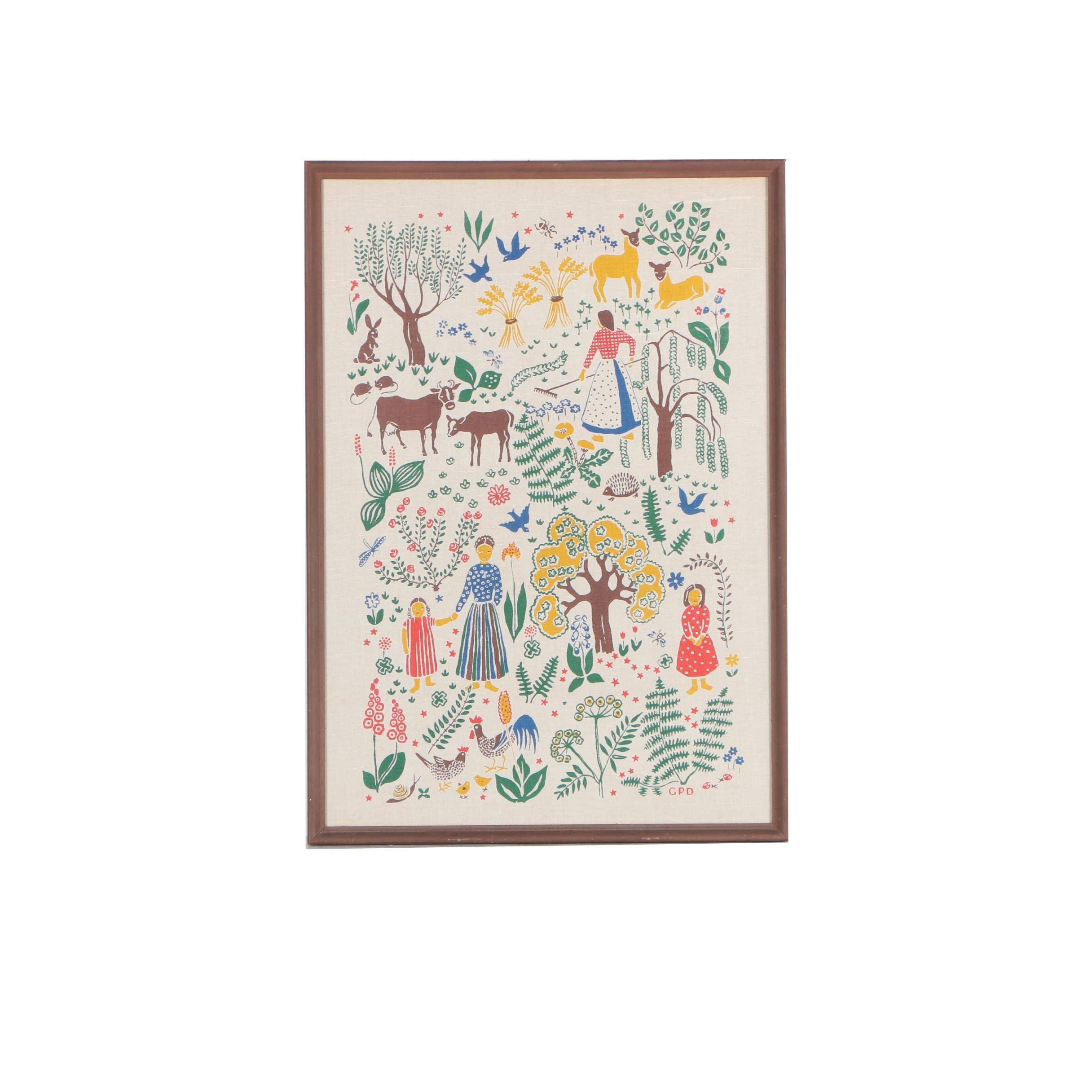 Framed Folk Art Style Tea Towel