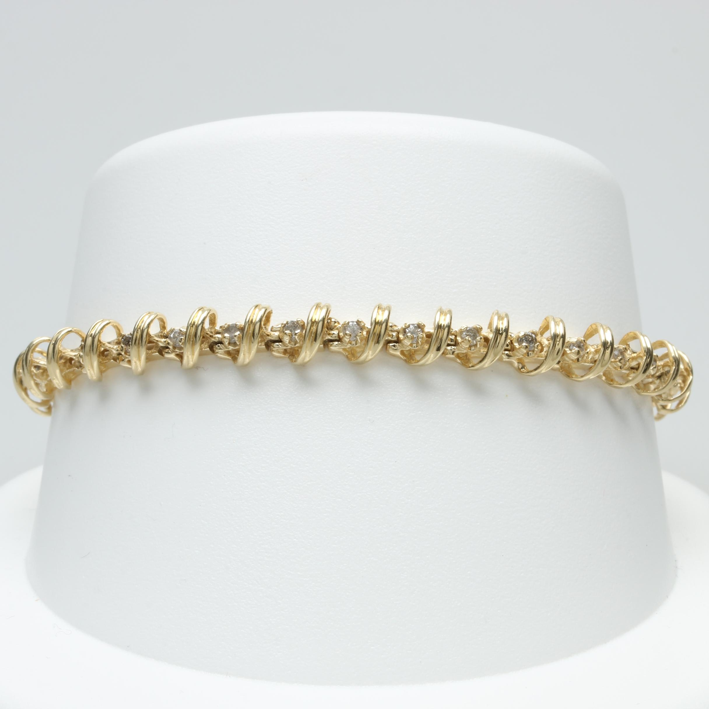 14K Yellow Gold Diamond Fancy Link Tennis Bracelet