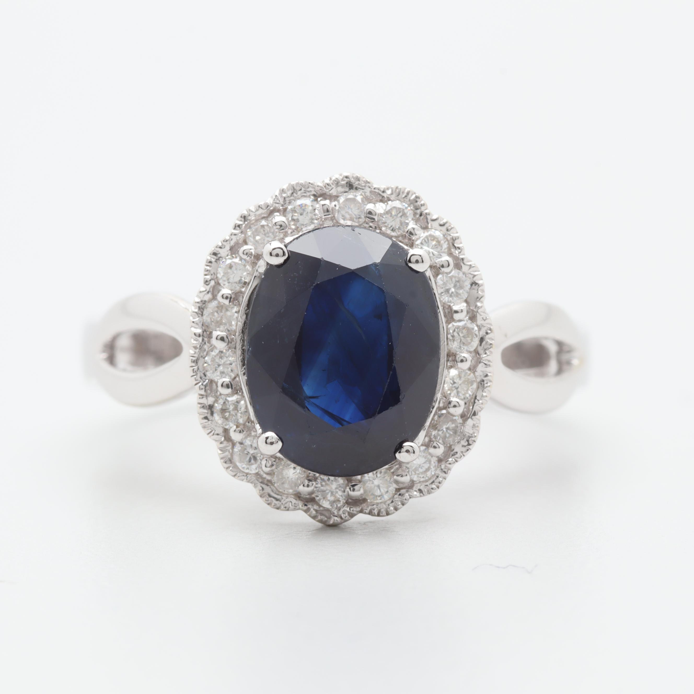 Michael Christoff 14K White Gold 1.97 CT Sapphire and Diamond Ring