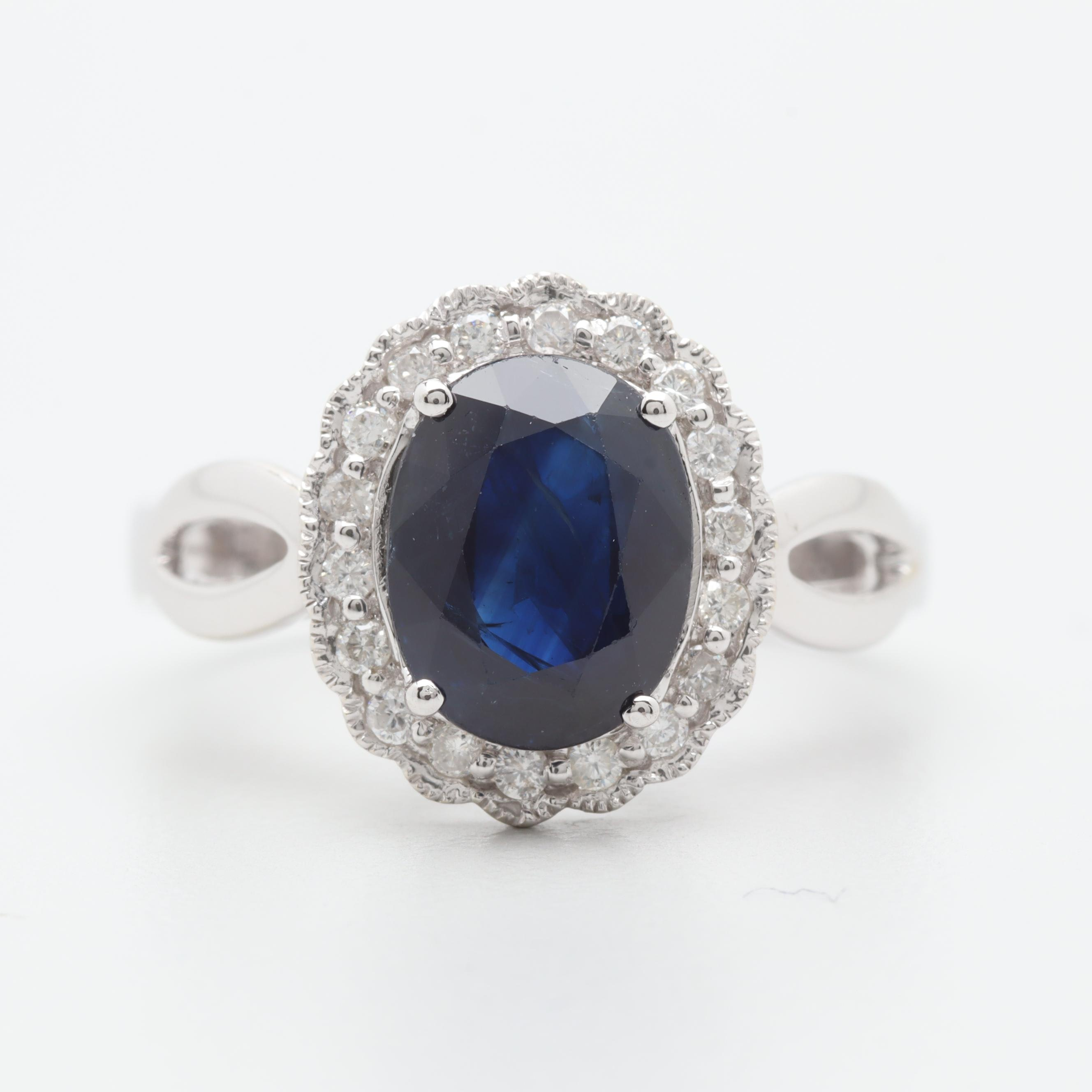 Michael Christoff 14K White Gold 1.97 CT Sapphire and Diamond Ring
