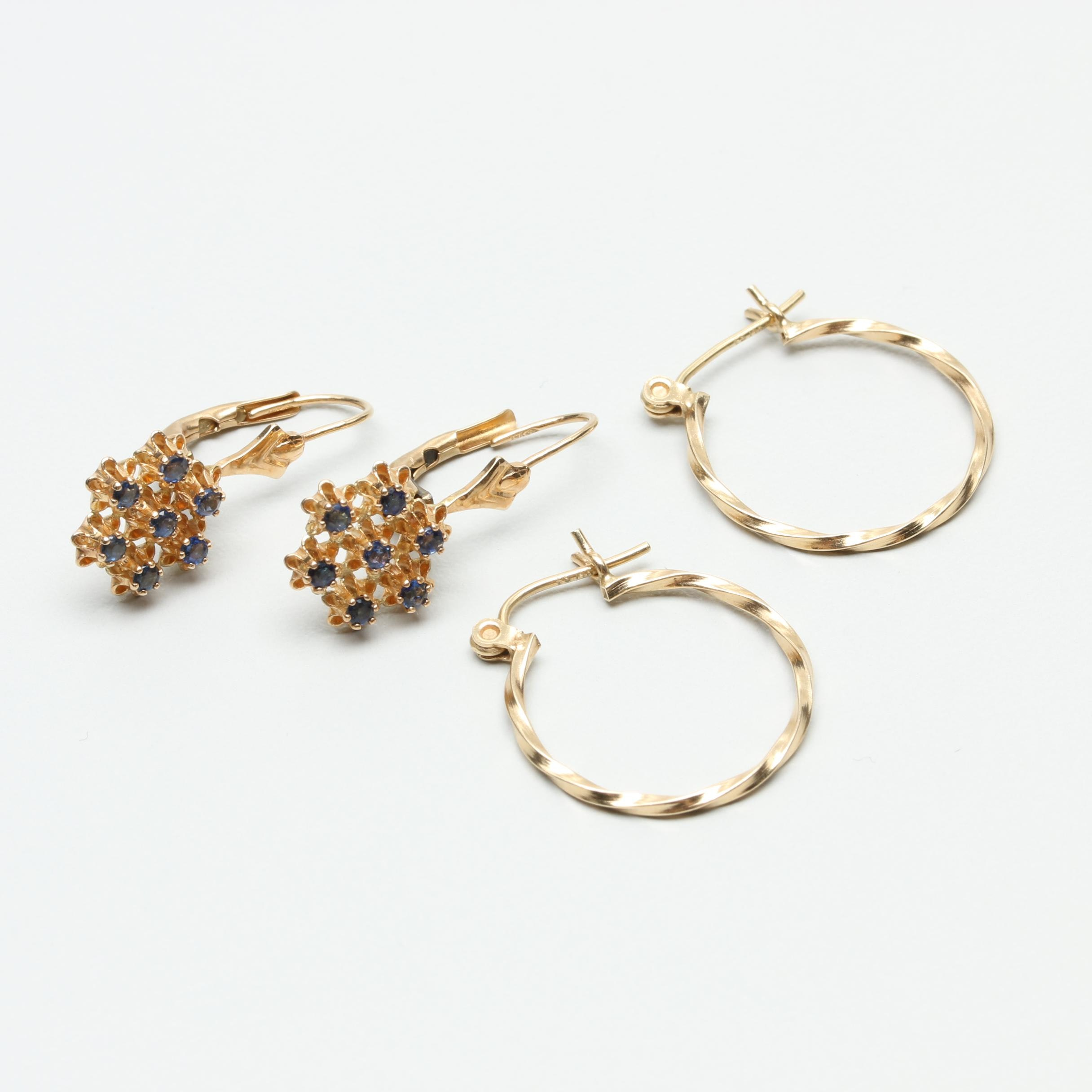14K Yellow Gold Earring Selection Including Sapphire