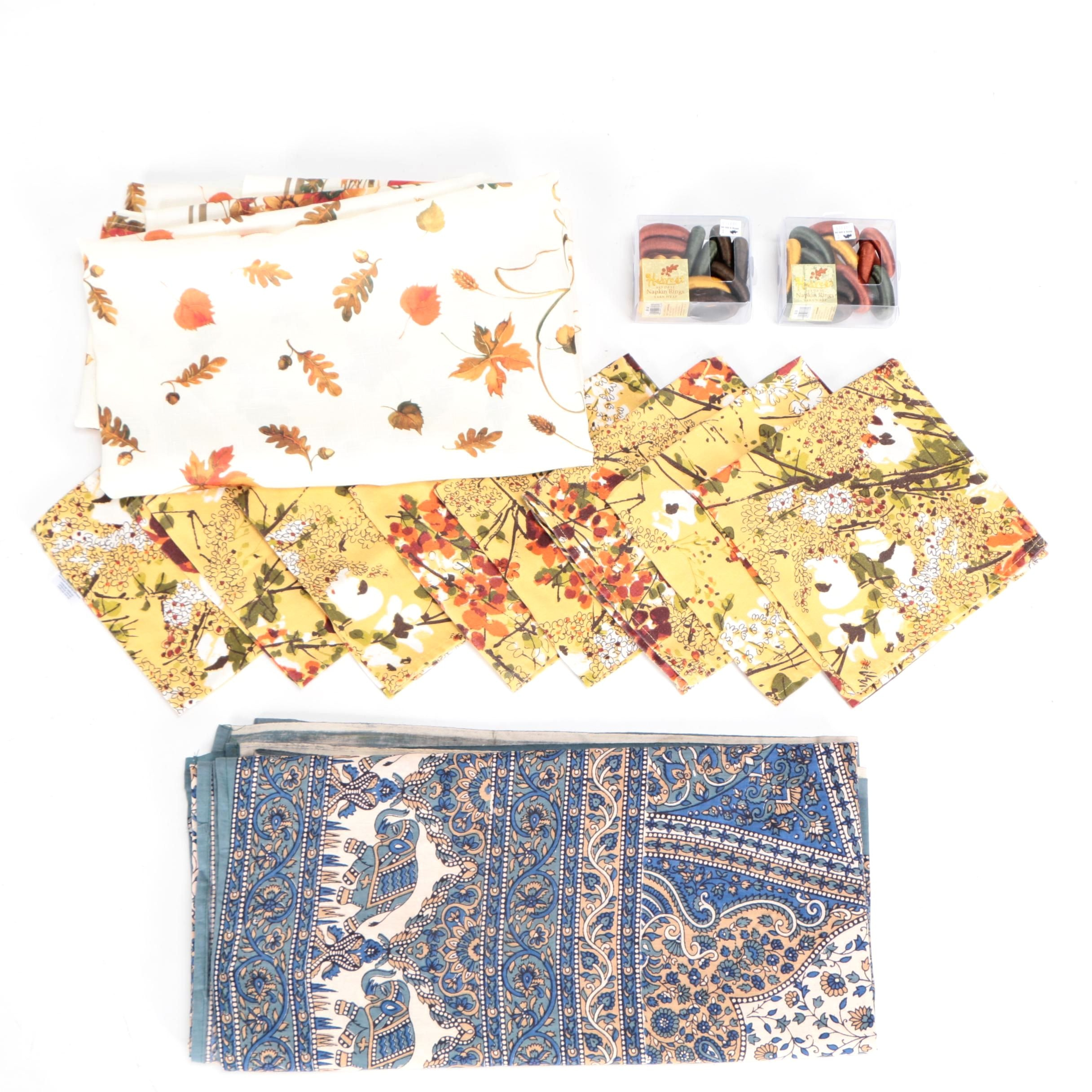 Vera Neumann Napkins, with Tablecloth, Napkin Rings, and Indian Style Tapestry