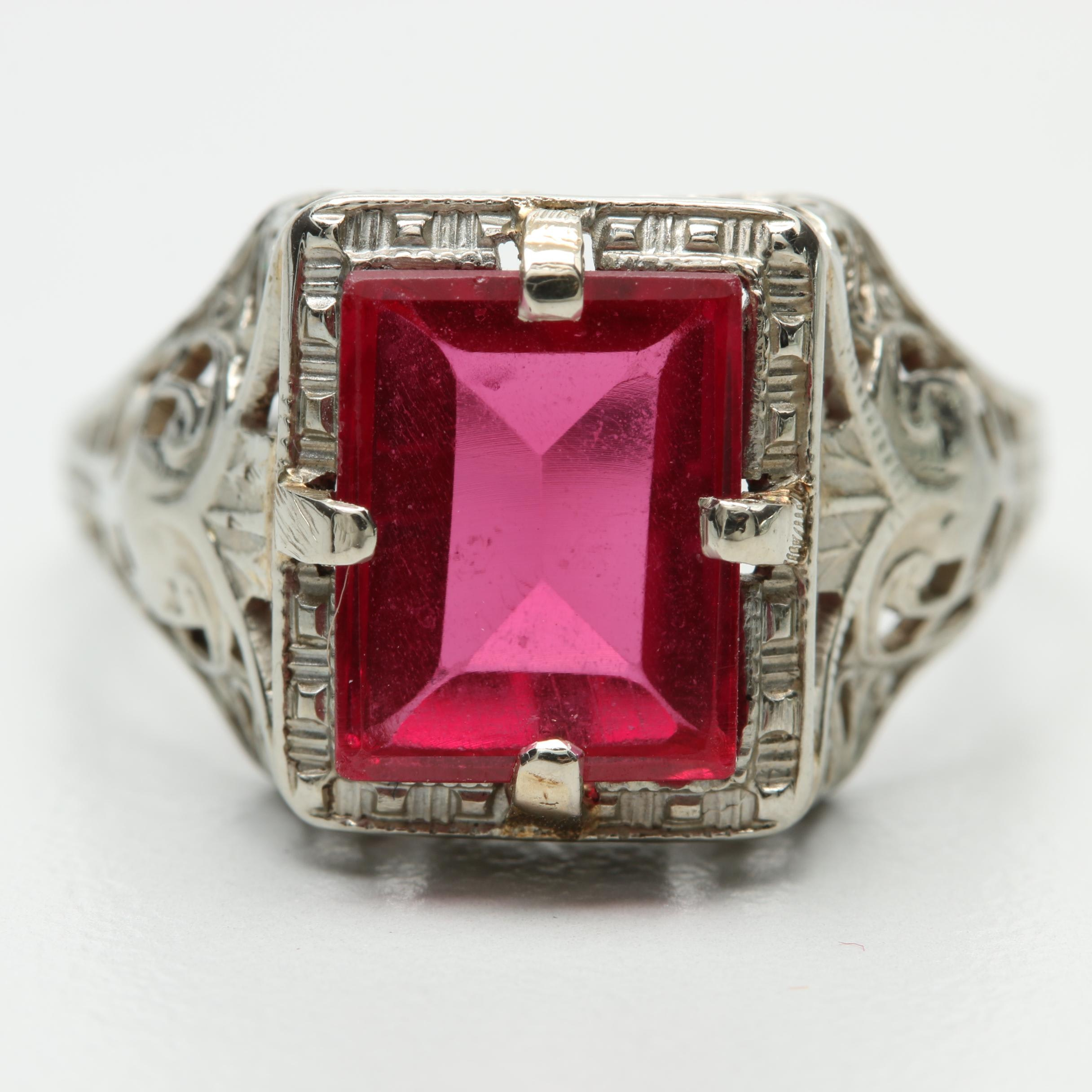 Early Art Deco 14K White Gold Synthetic Ruby Solitaire Ring