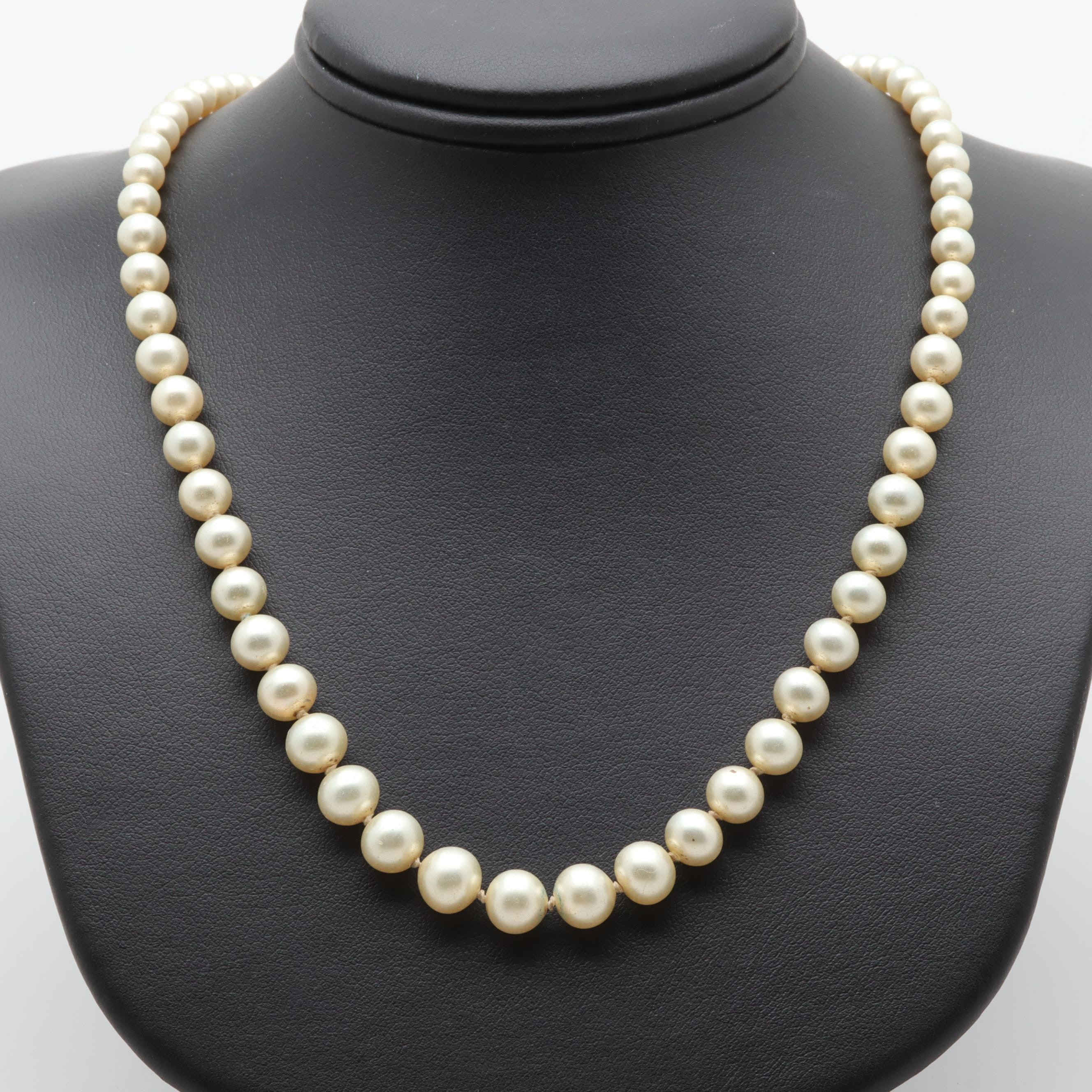 10K White Gold Imitation Pearl Beaded Necklace