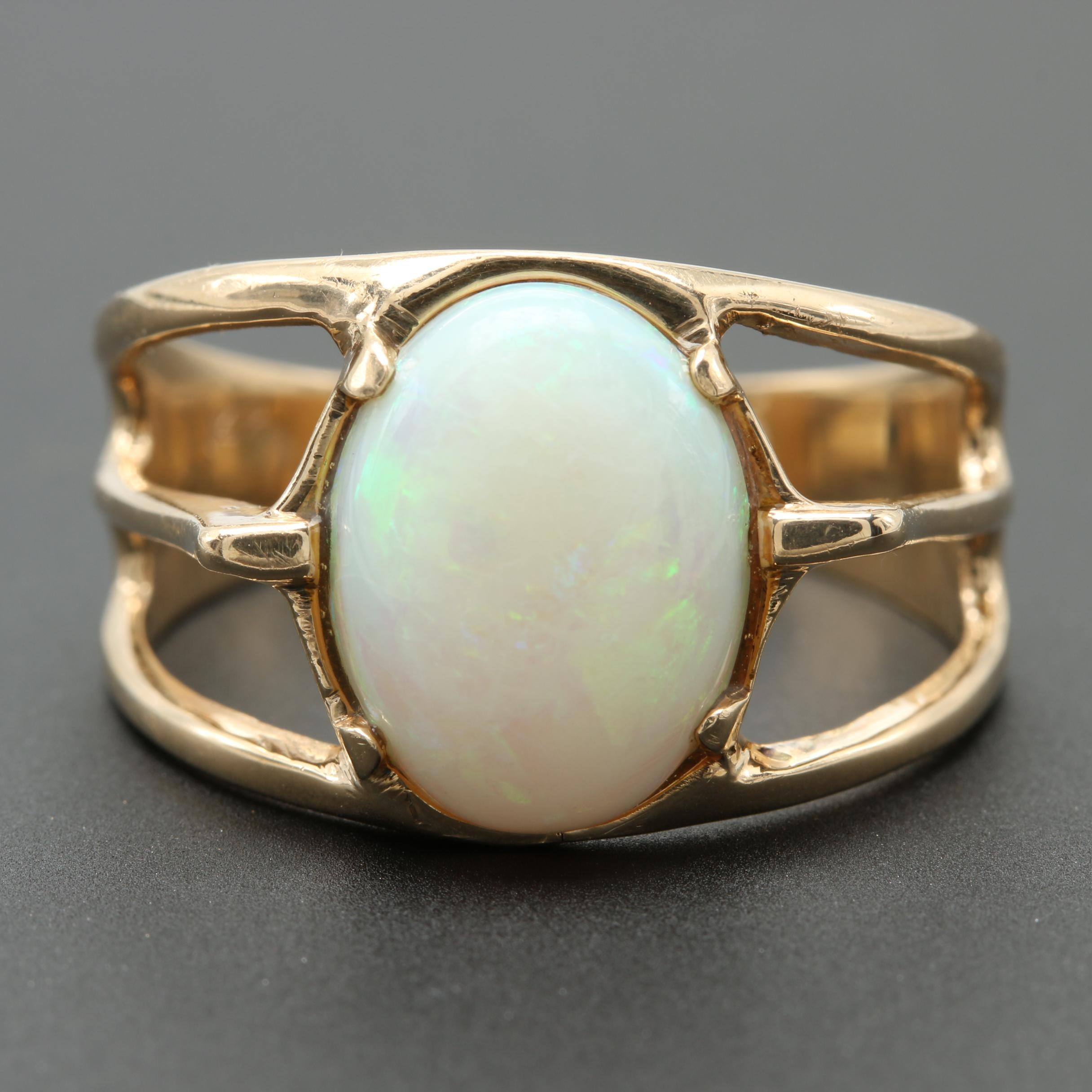 14K Yellow Gold Opal Solitaire Open Shoulder Ring