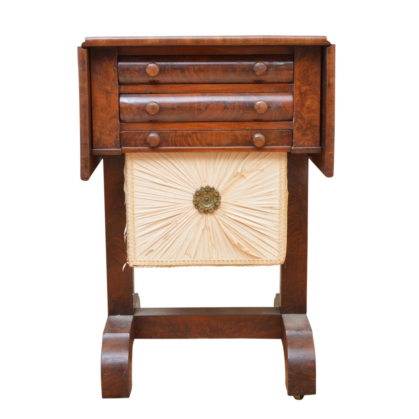 Antique Empire Style Mahogany Sewing Table
