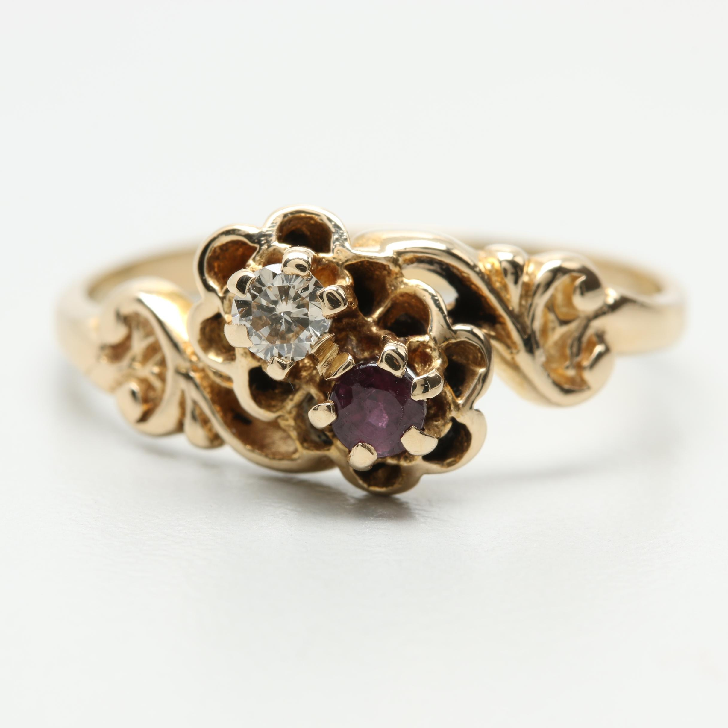 Victorian 14K Yellow Gold Diamond and Ruby Floral Ring