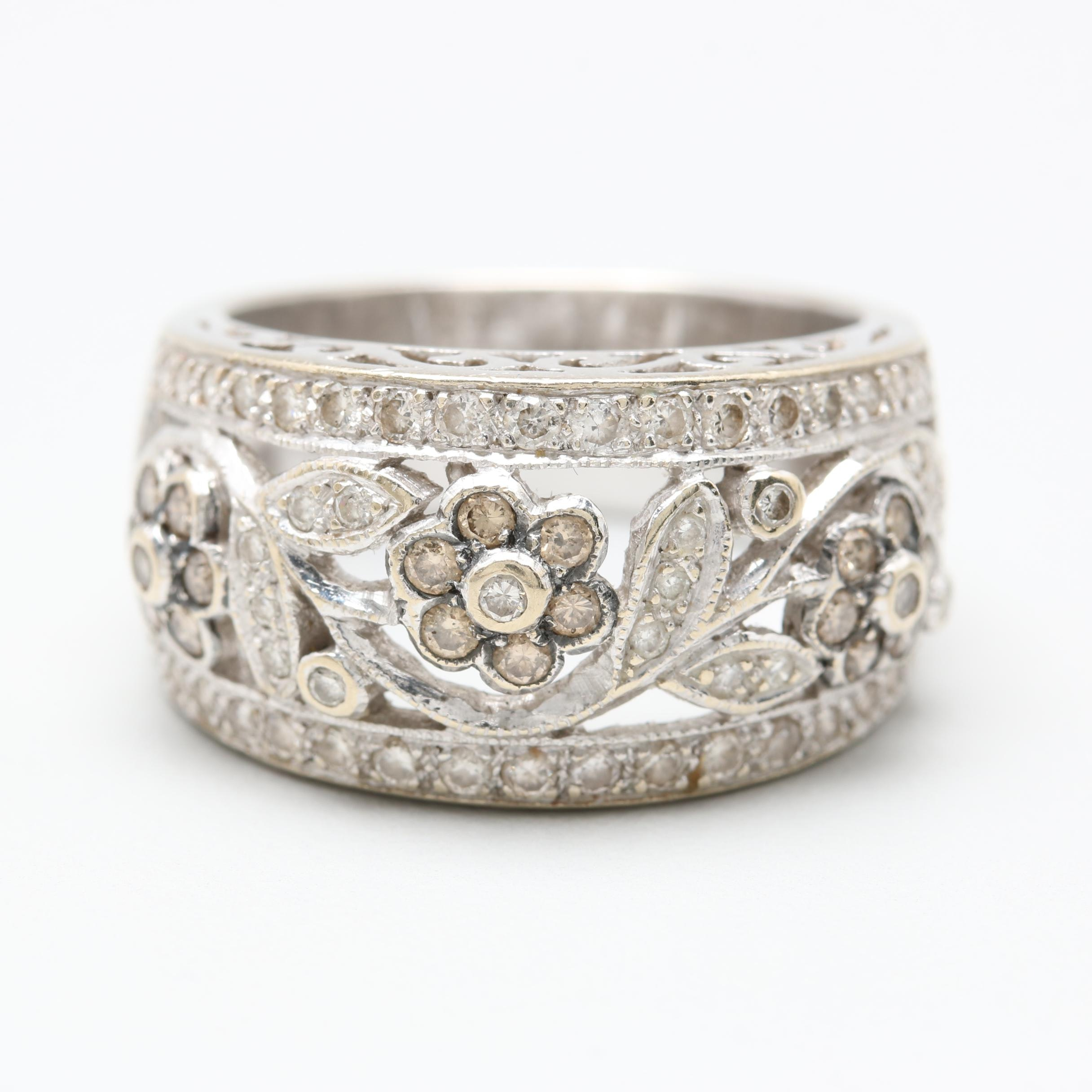 LeVian 18K White Gold Diamond Flower Ring