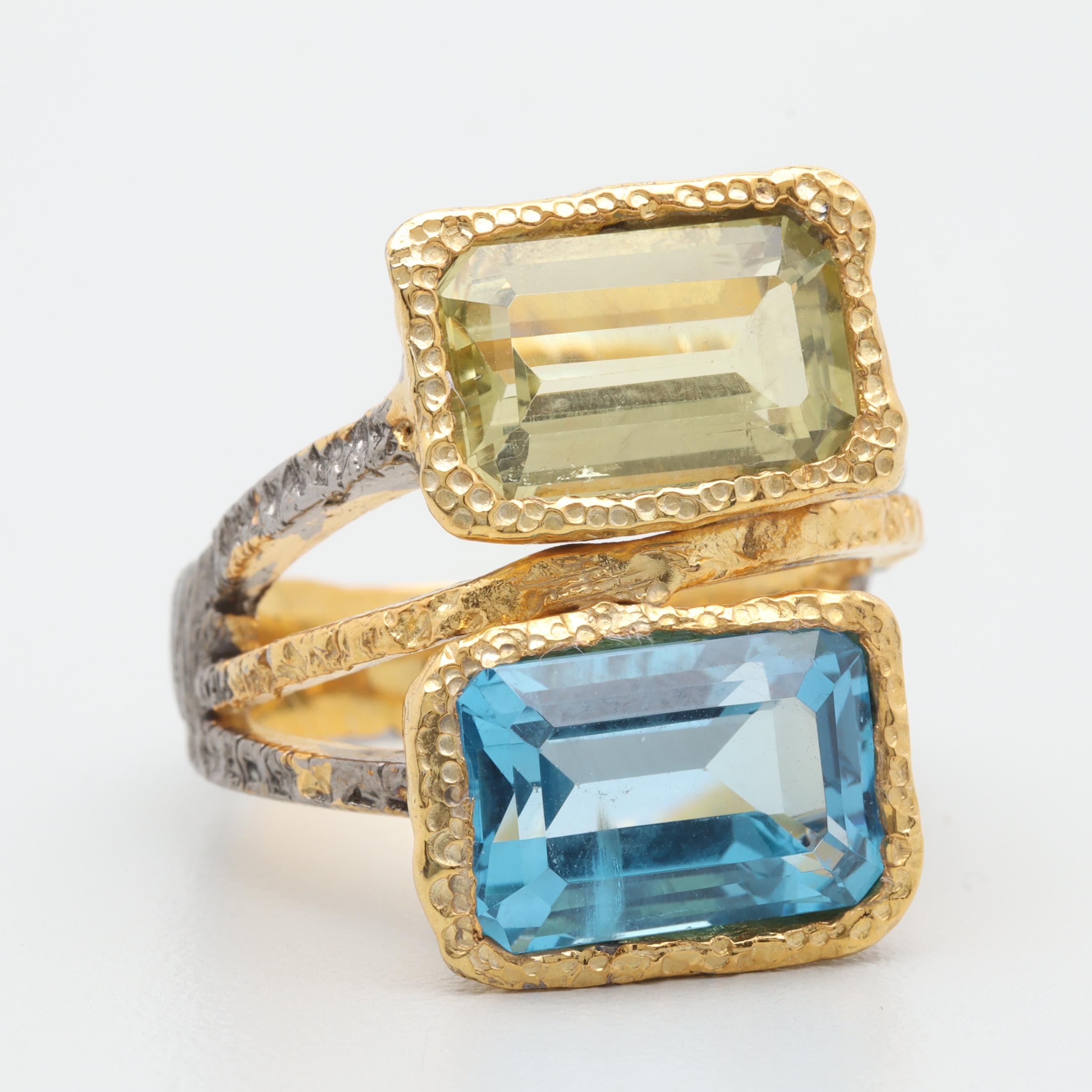 Yellow Gold Wash on Sterling Silver Blue Topaz and Quartz Ring