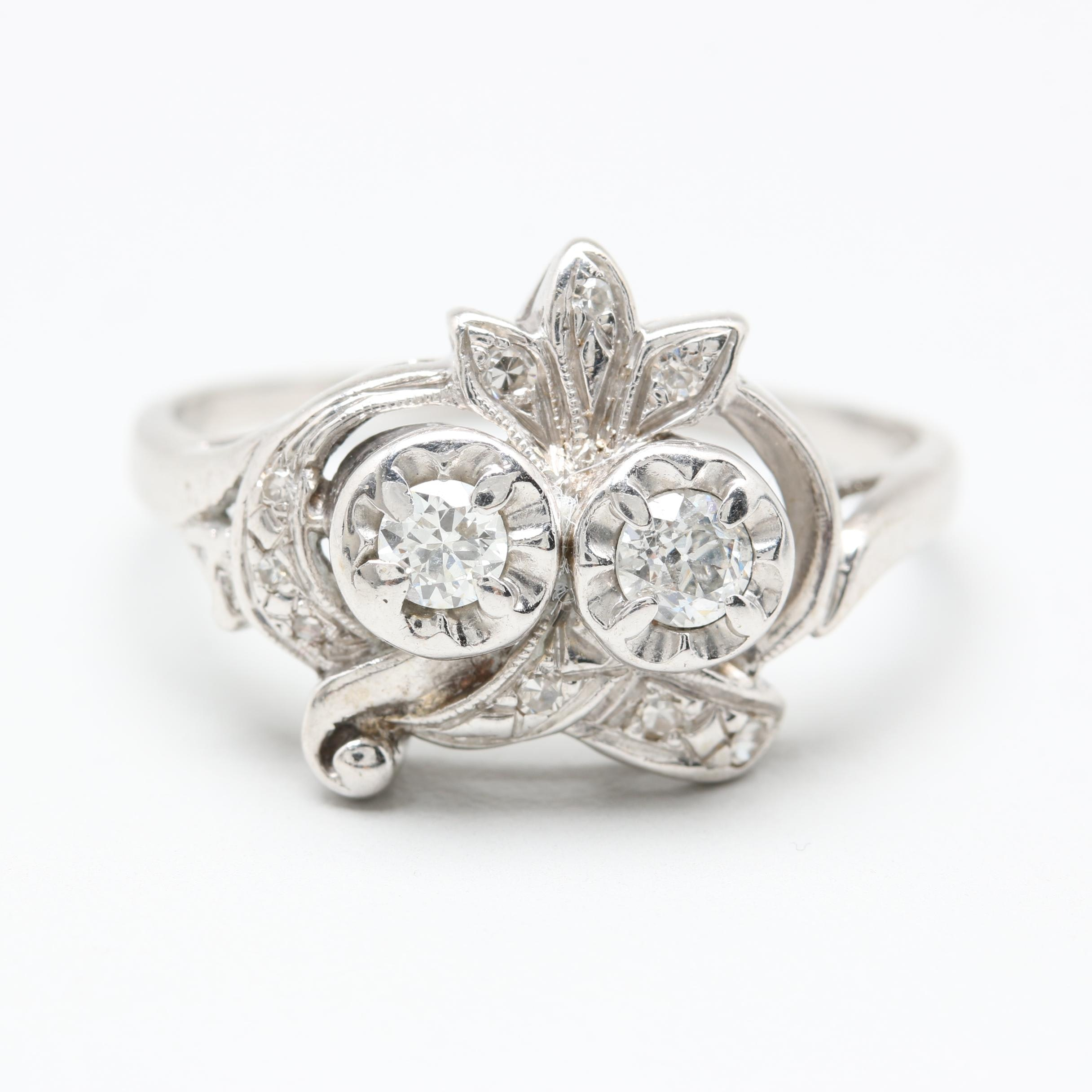 Vintage Style 14K White Gold Diamond Ring