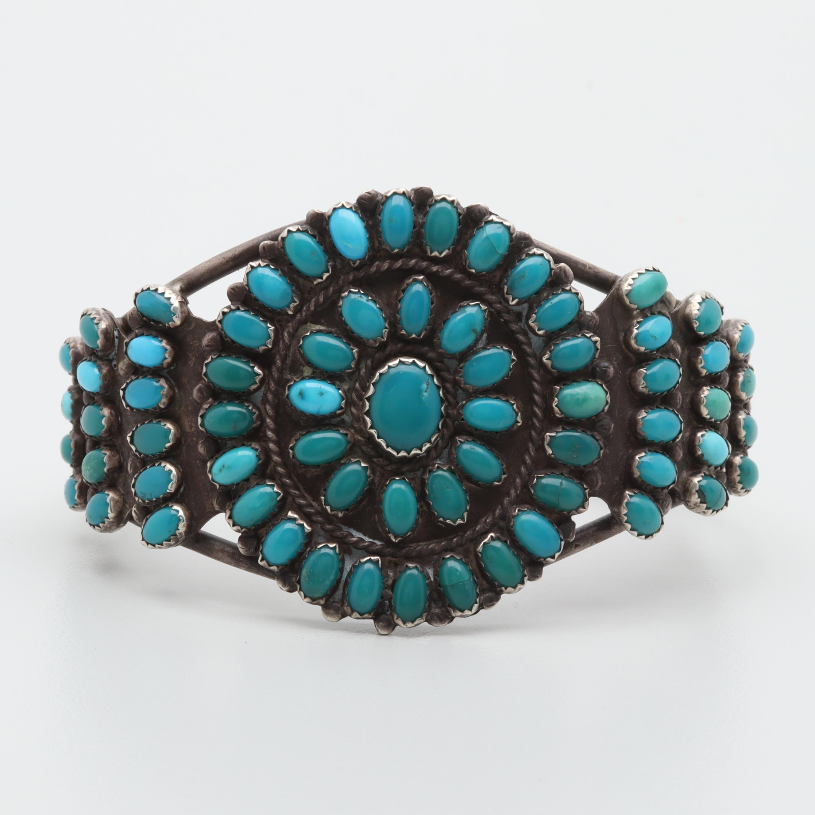 Judy Wallace Zuni Sterling Silver Turquoise Cuff