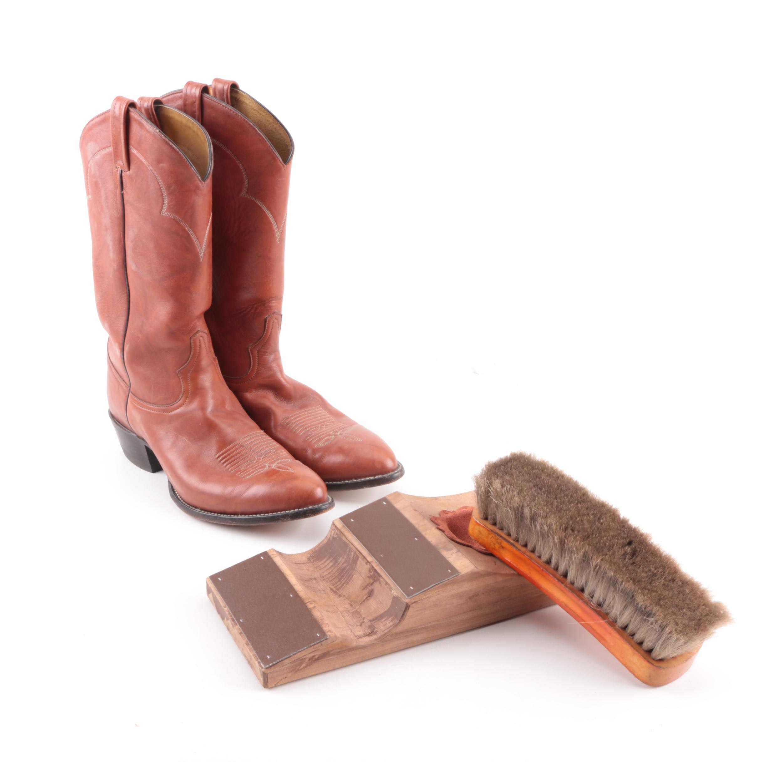 Men's Tony Lama Boots with Boot Jack and Brush
