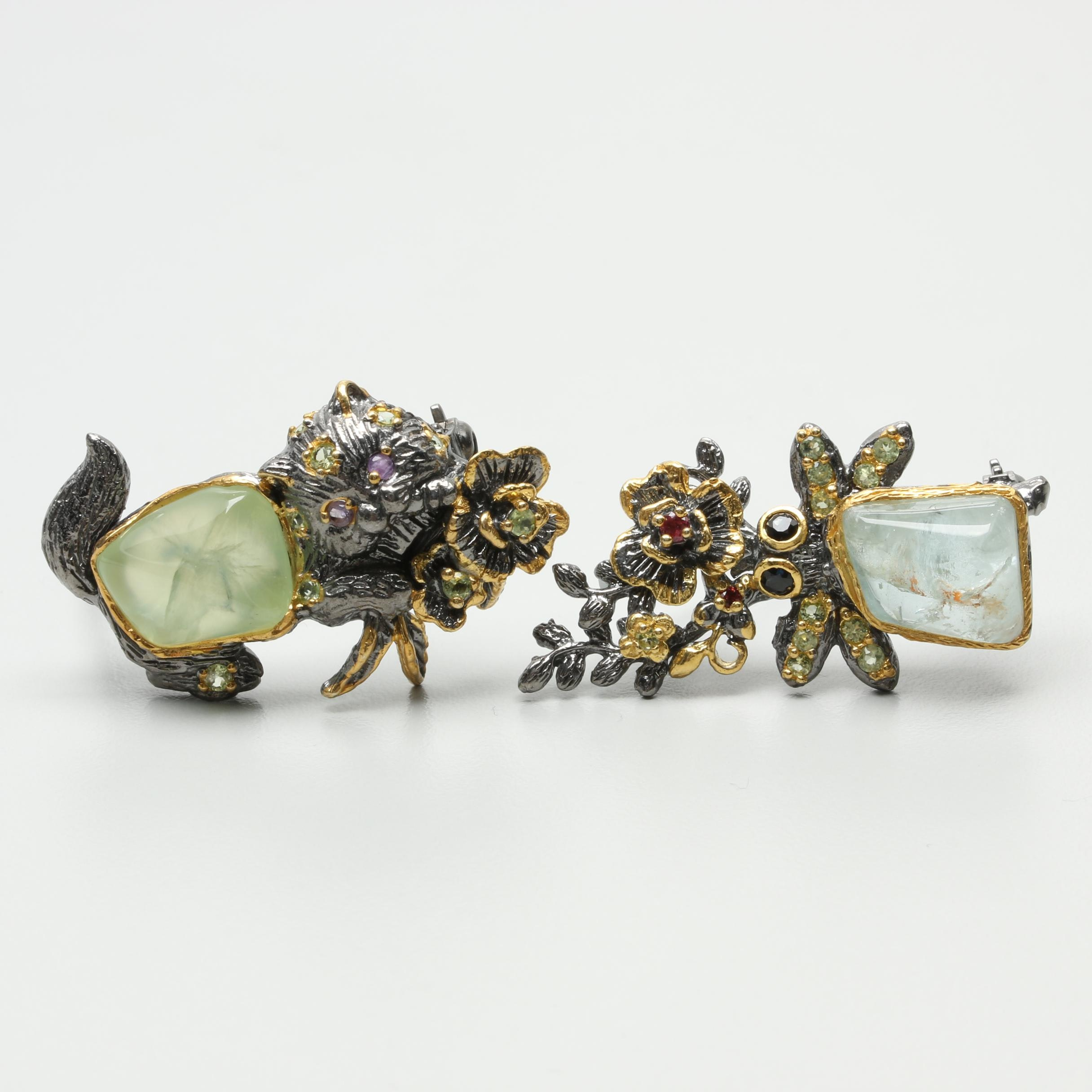 Sterling Silver Brooches Featuring Freeform Prehnite and Aquamarine