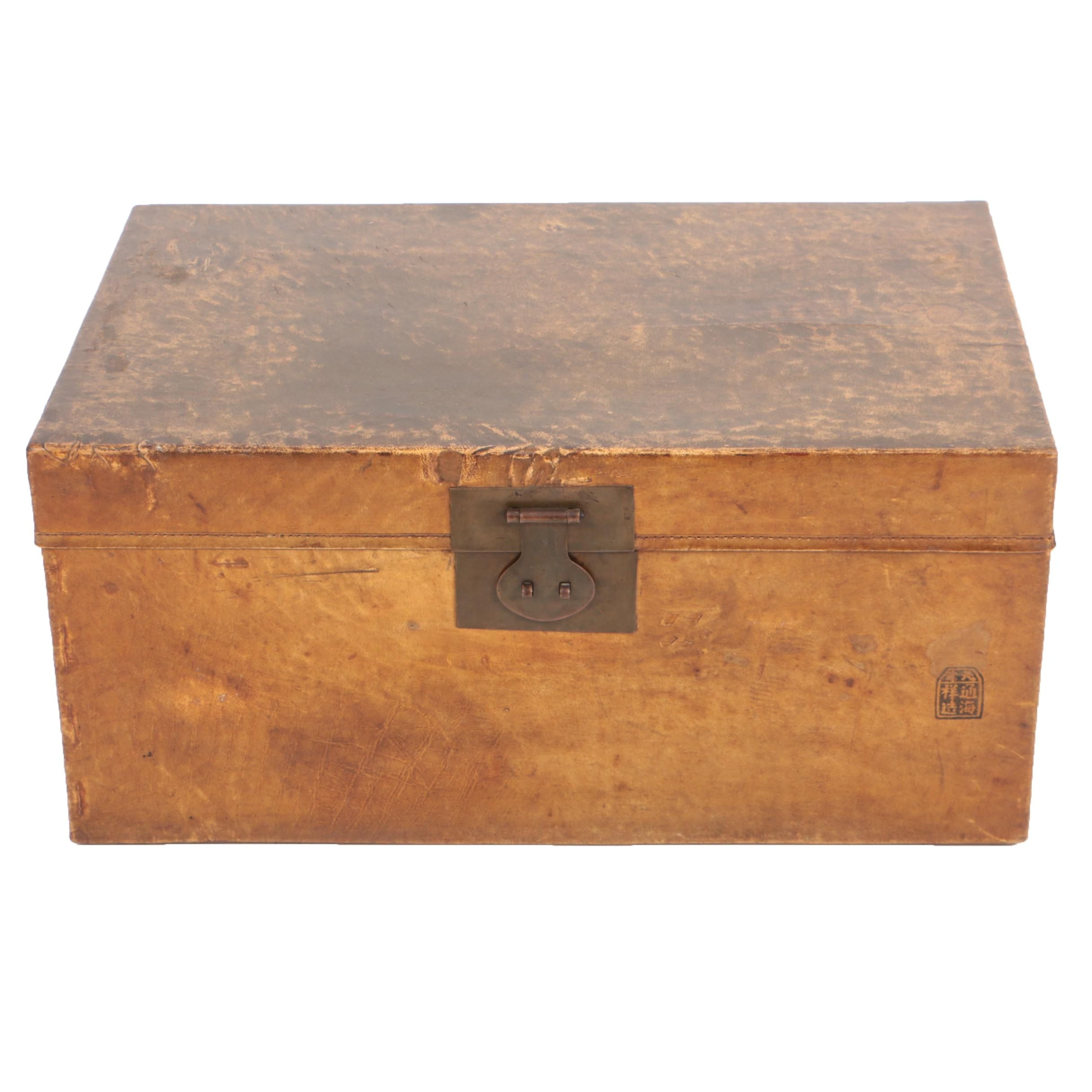 Chinese Pigskin Leather and Cedar Trunk
