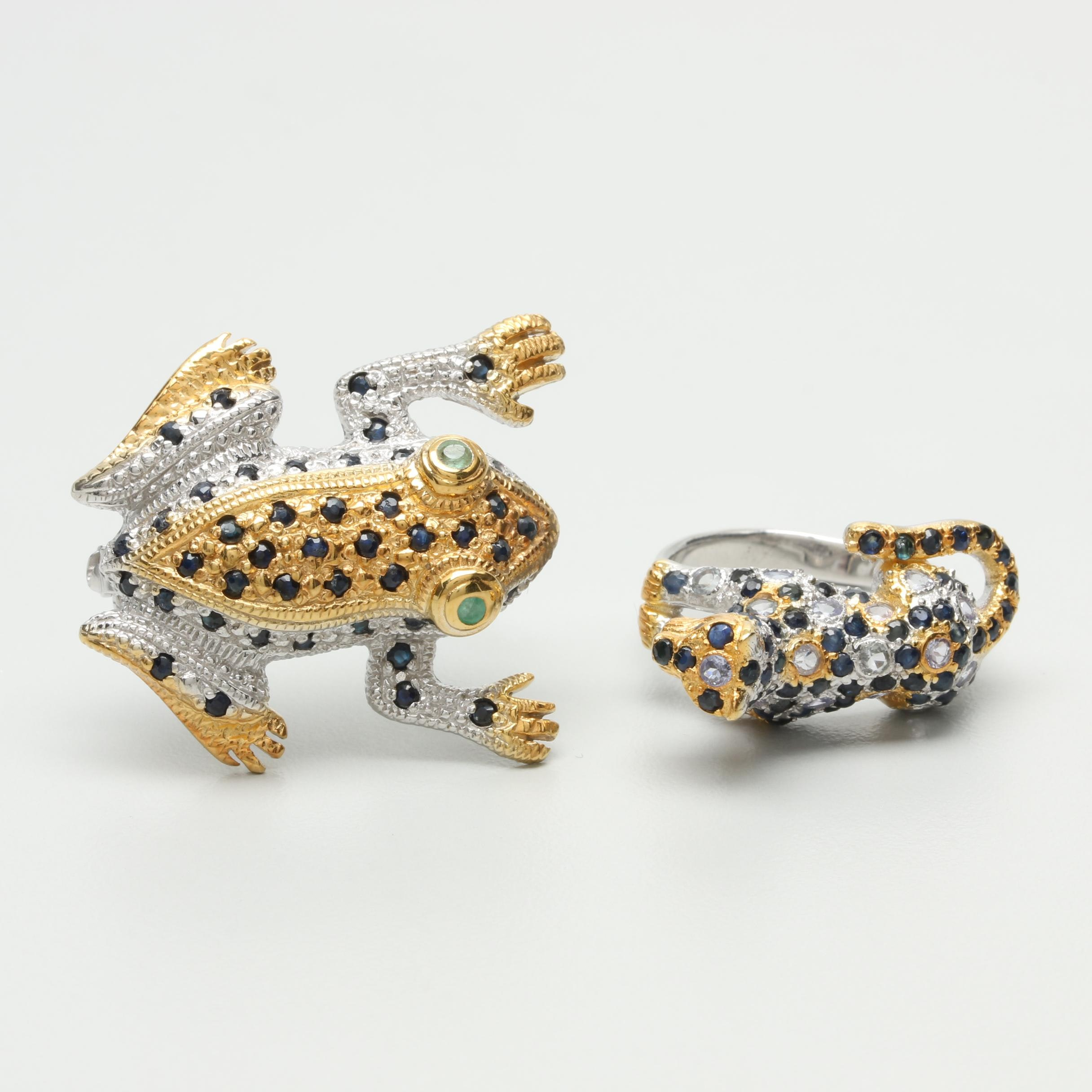 Sterling Silver Frog Brooch and Spotted Cat Ring