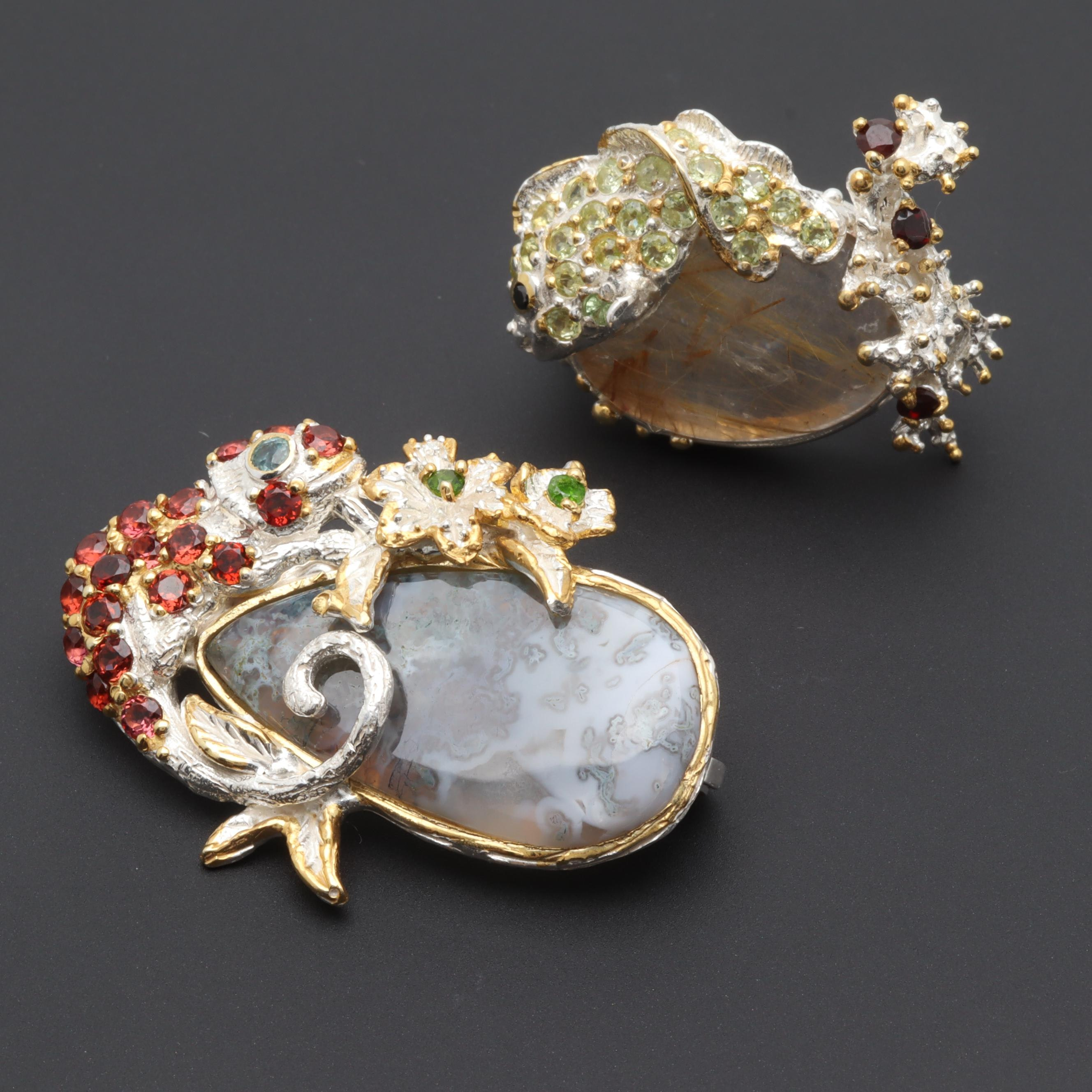 Sterling Silver Brooch Selection Including Agate and Rutilated Quartz