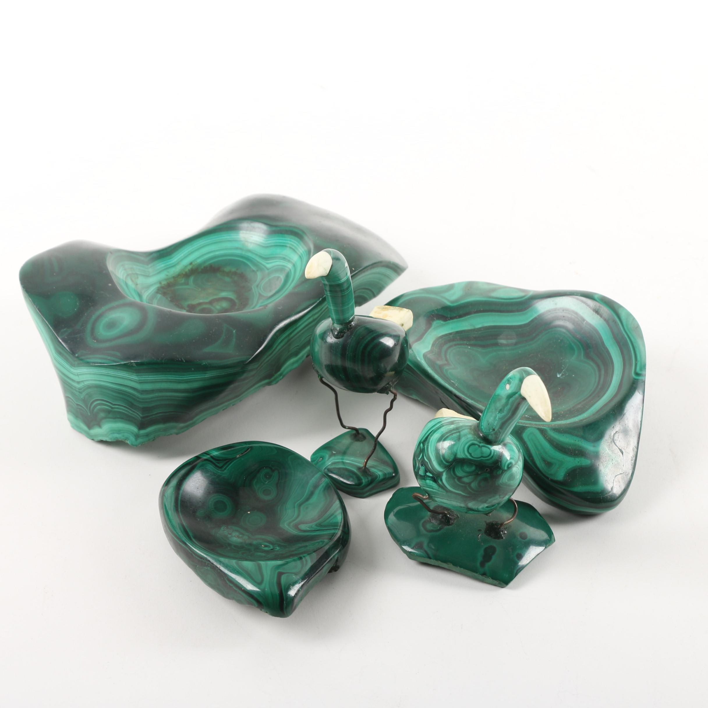 Carved Malachite Trinket Trays and Bird Figurines with Wire and Resin Accents