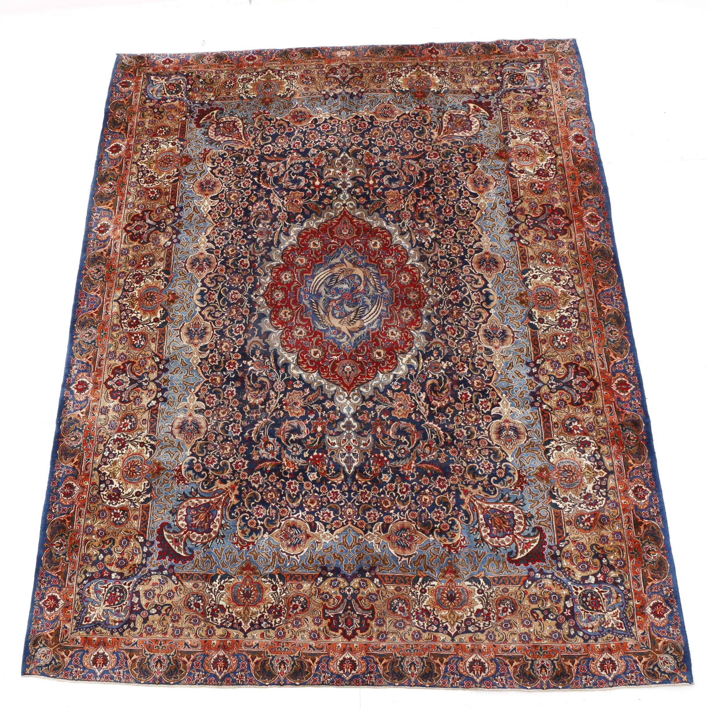 Hand-Knotted Signed Persian Archaeological Kashmar Rug