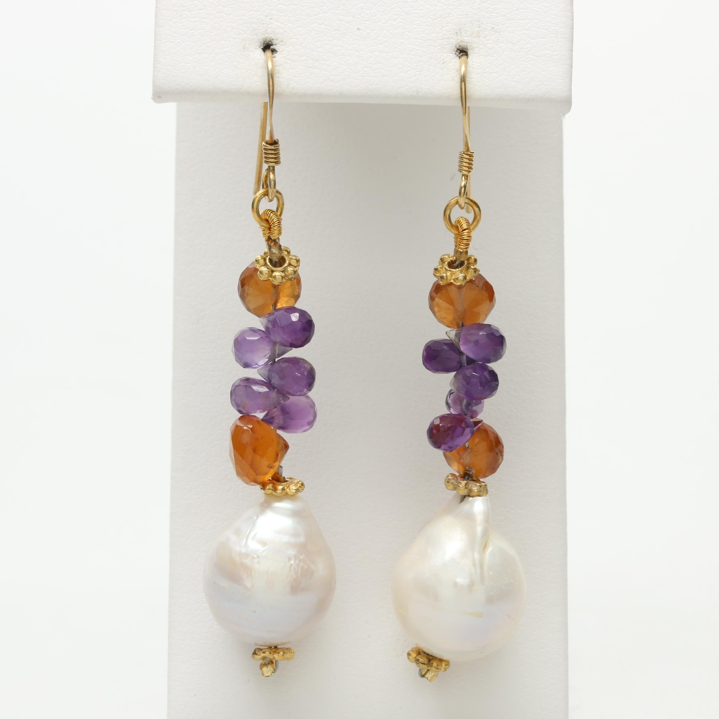 Gold Wash on Sterling Silver Cultured Pearl, Amethyst, and Citrine Earrings