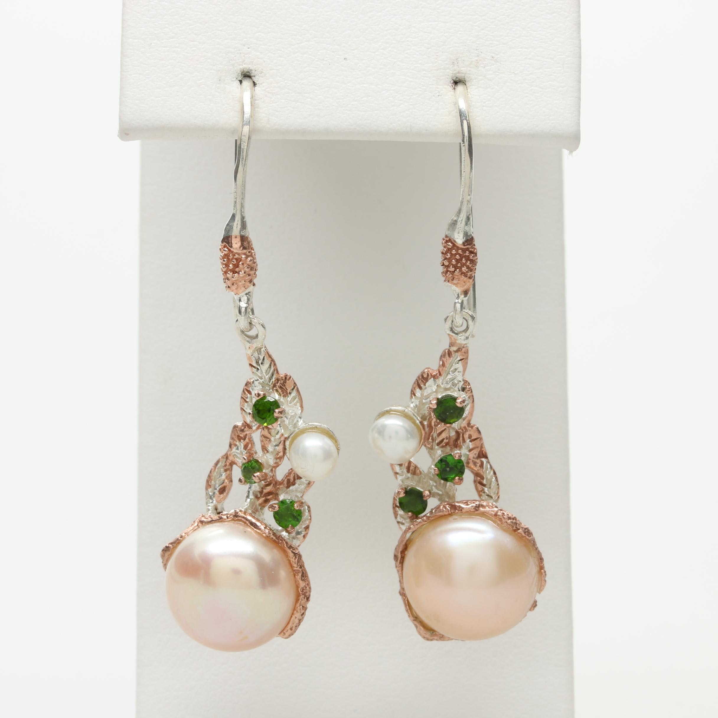 Sterling Silver Cultured Pearl and Chrome Diopside Dangle Earrings