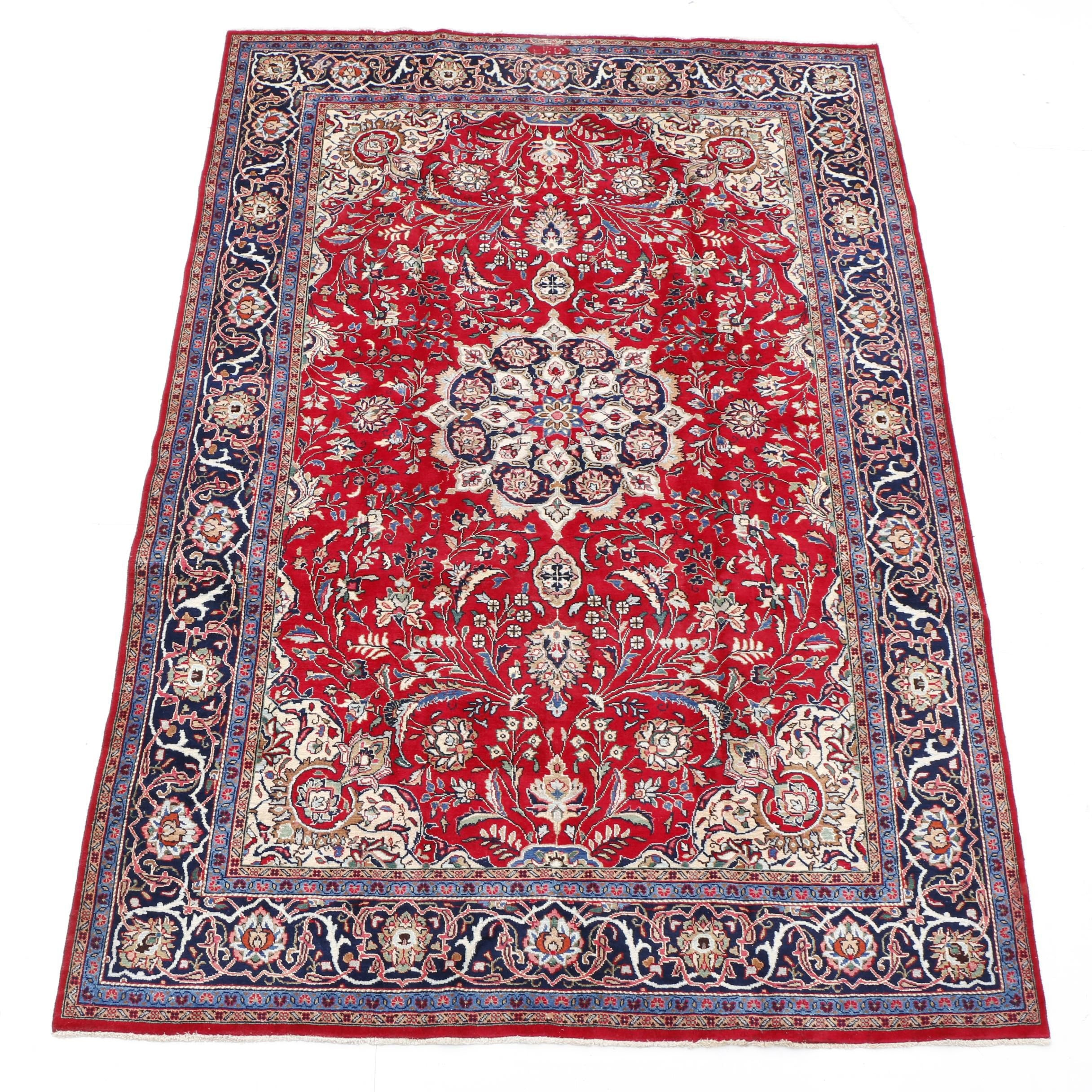 Signed Hand-Knotted Persian Sarouk Area Rug
