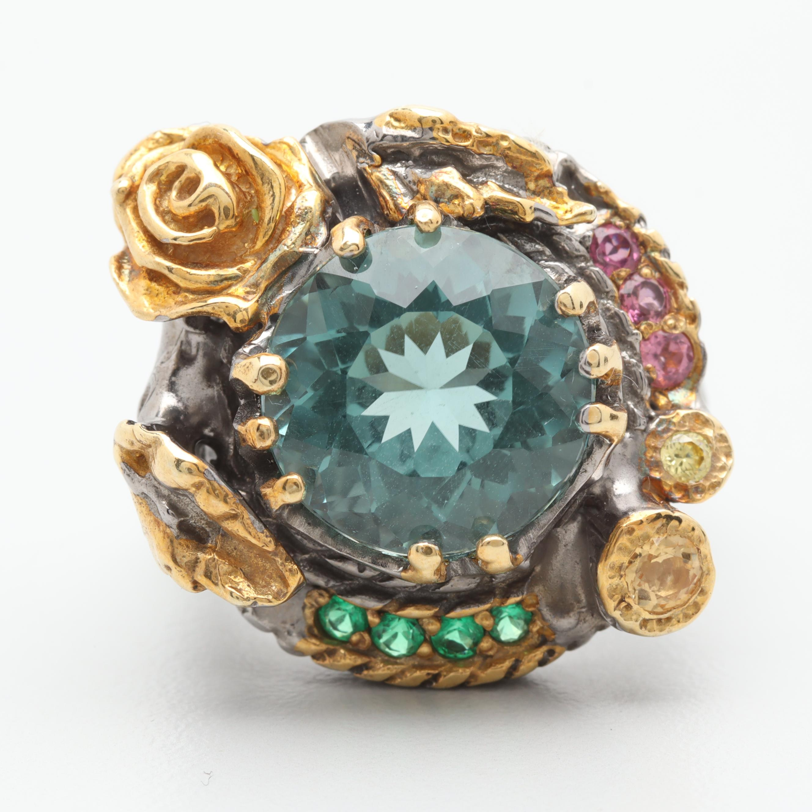 Sterling Silver Quartz, Chrome Diopside, Pink Tourmaline and Citrine Ring