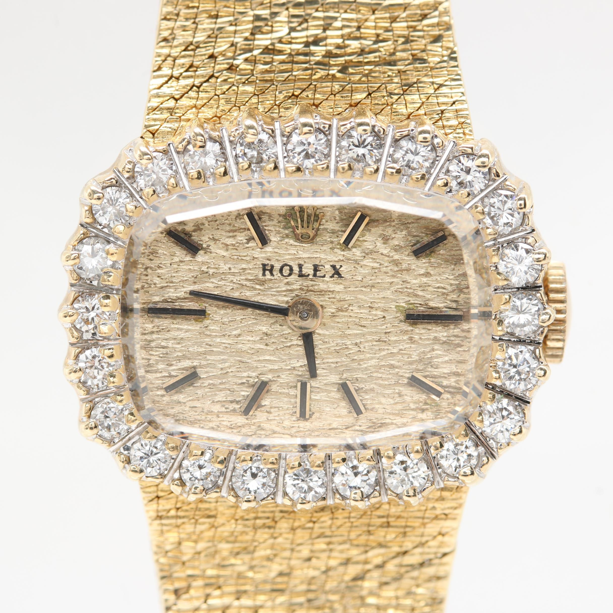 Rolex 14K Yellow Gold Diamond Wristwatch
