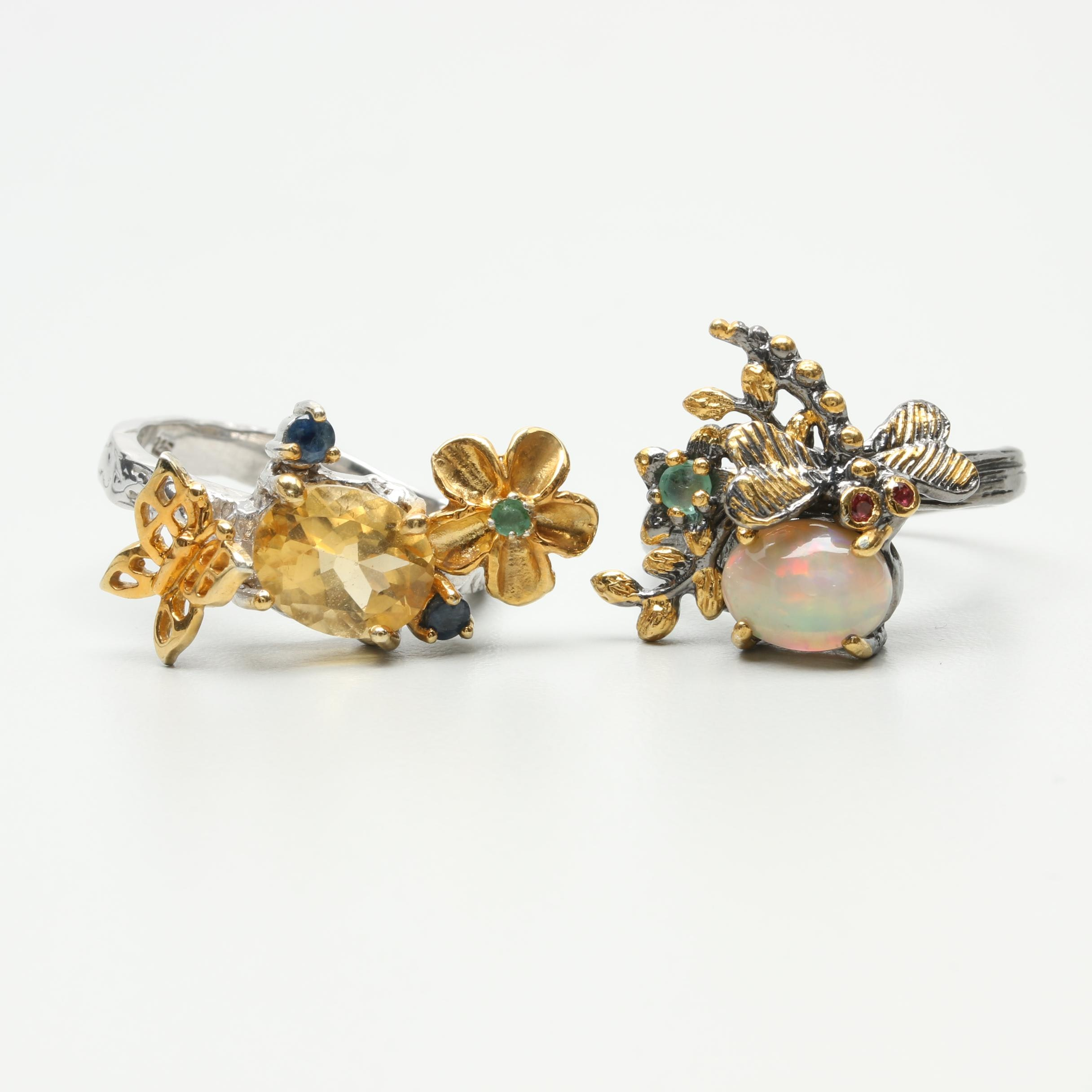 Sterling Silver Organic Ring Selection Featuring Opal, Citrine and Sapphire