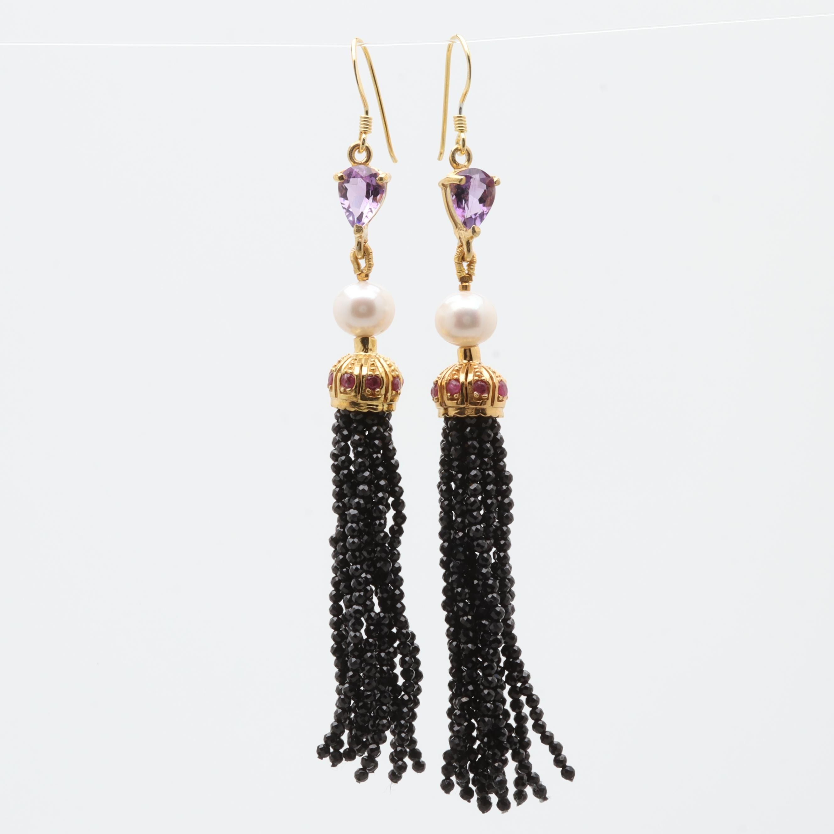 Sterling Silver Cultured Pearl and Gemstone Fringed Earrings