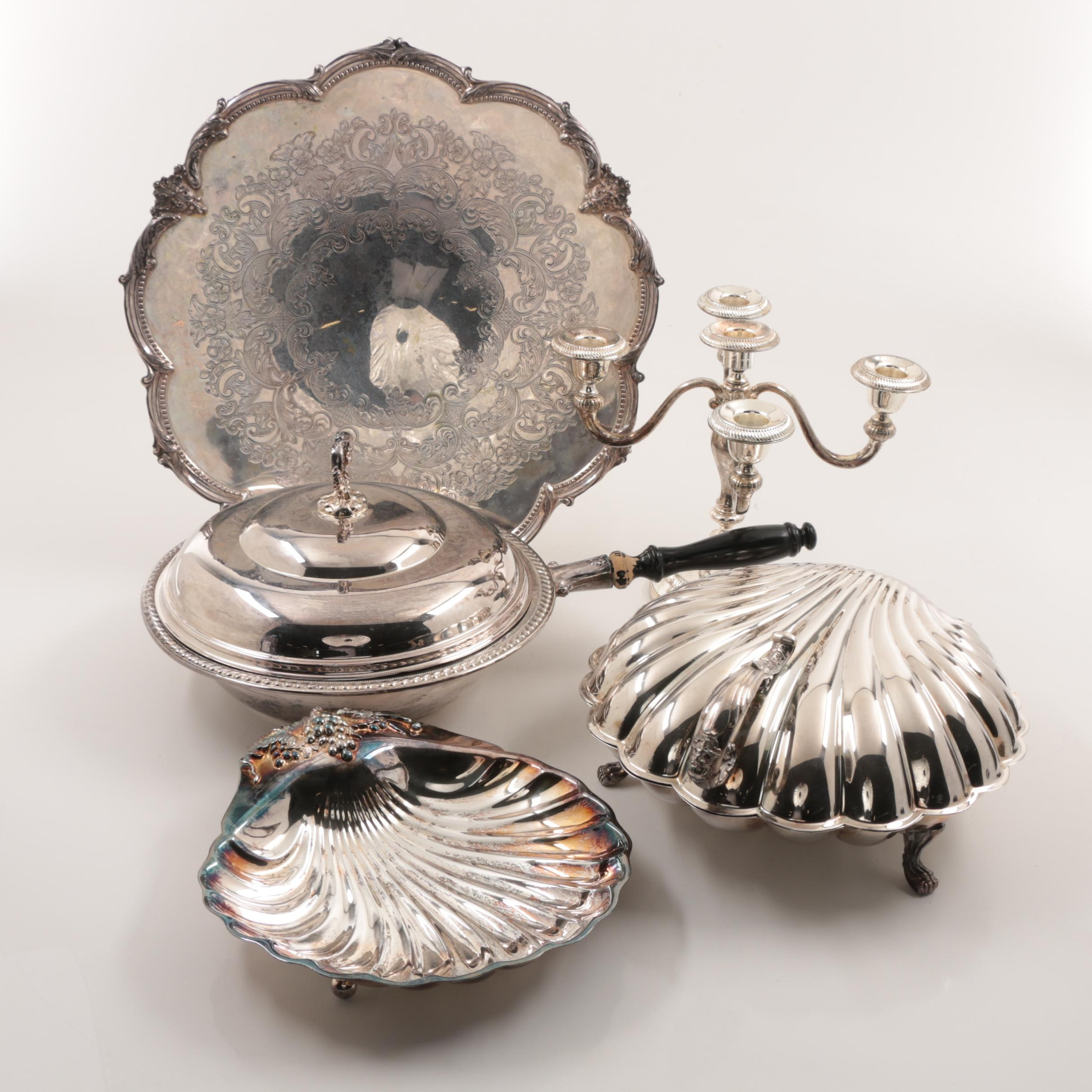 Silver Plate Lazy Susan Footed Tray And More
